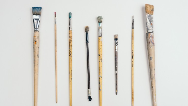NDSR Report image: paintbrushes (stock image)