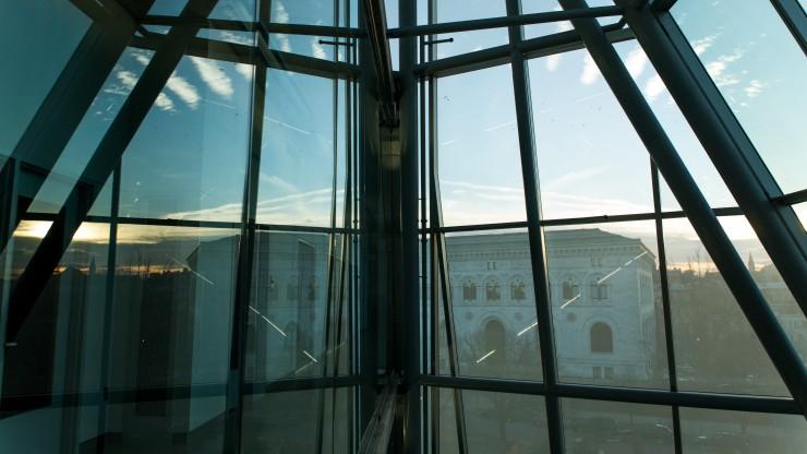 MICA Main Building as seen through the Brown Center