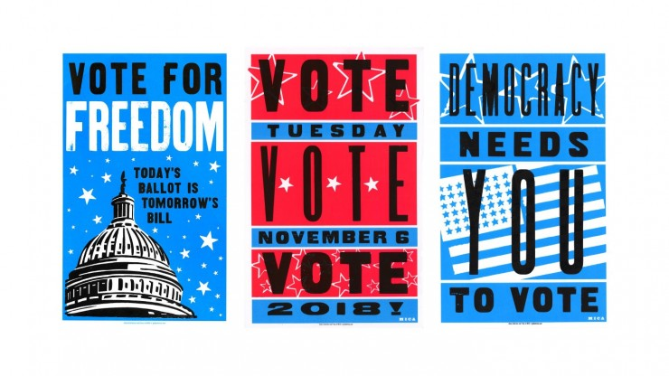 Three letter-pressed posters advocating for participation in the 2018 Mid-Term Elections