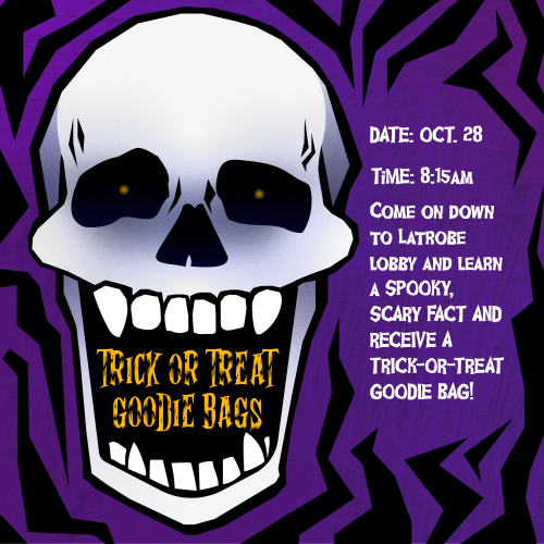 """Skull with the words Trick-or-Treat Goodie Bags in mouth. Text to the side says """"Come on down to Latrobe lobby and learn a SPOOKY, SCARY fact and receive a Trick-or-Treat Goodie Bag!"""""""