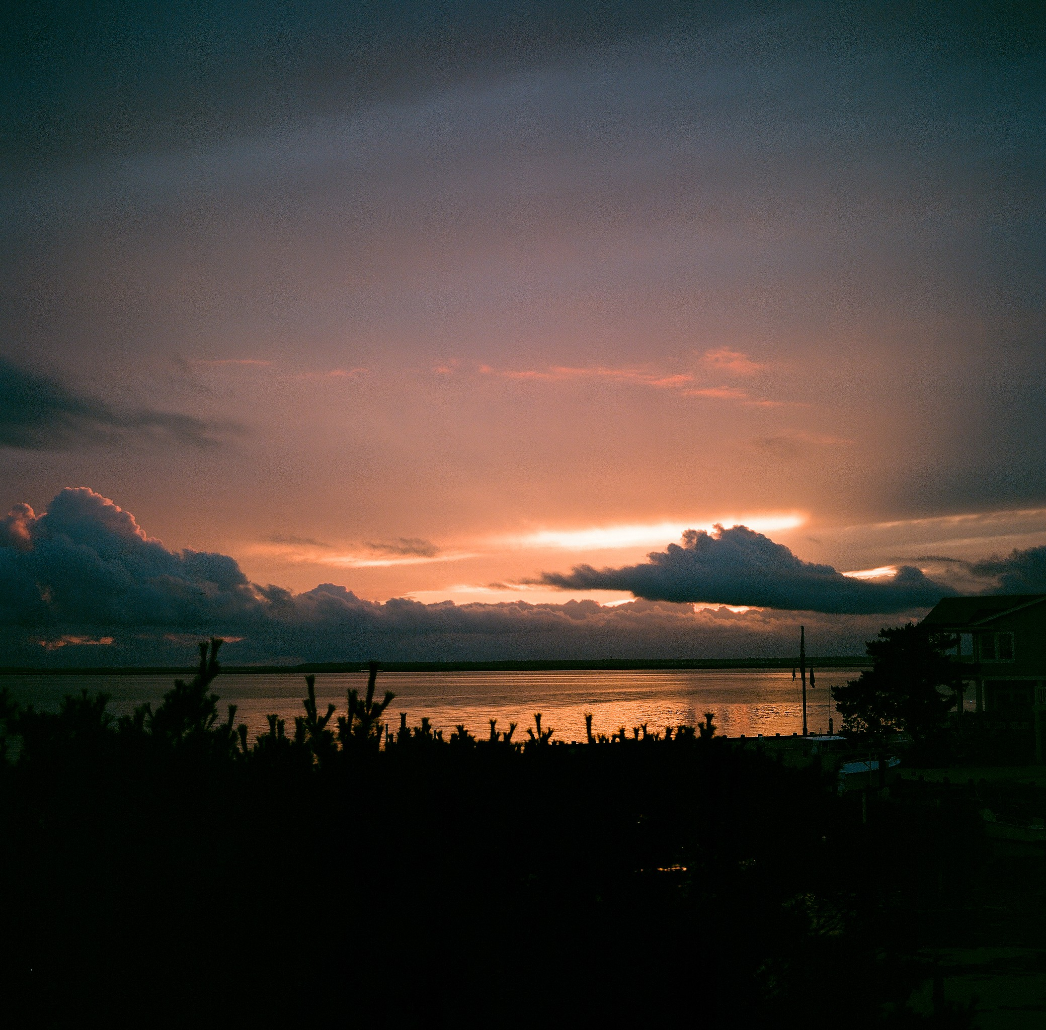 End of the sunset over the bay, shot on medium format film.