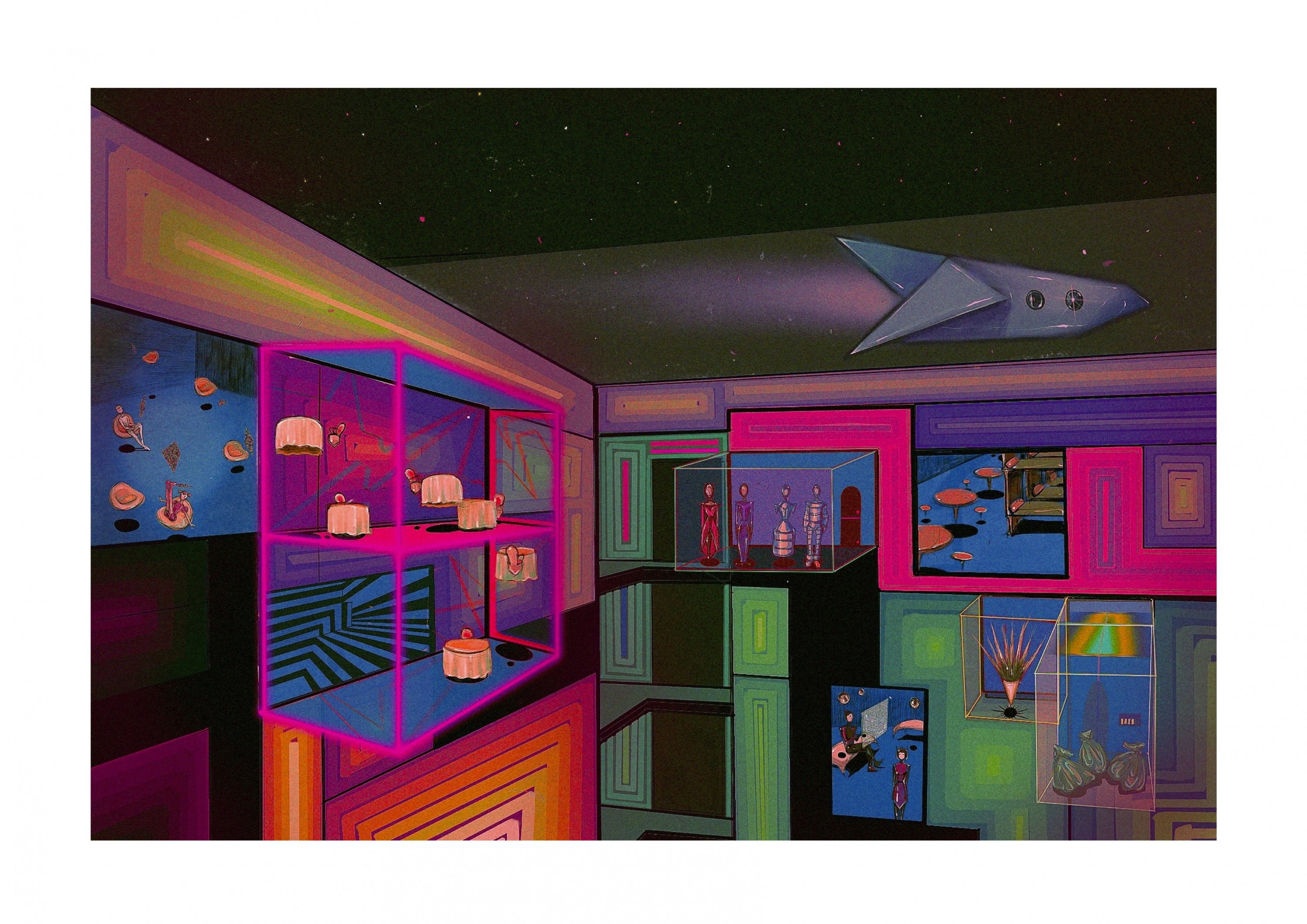 A piece of sci-fi illustration depicting an imaginary outer space residency space.