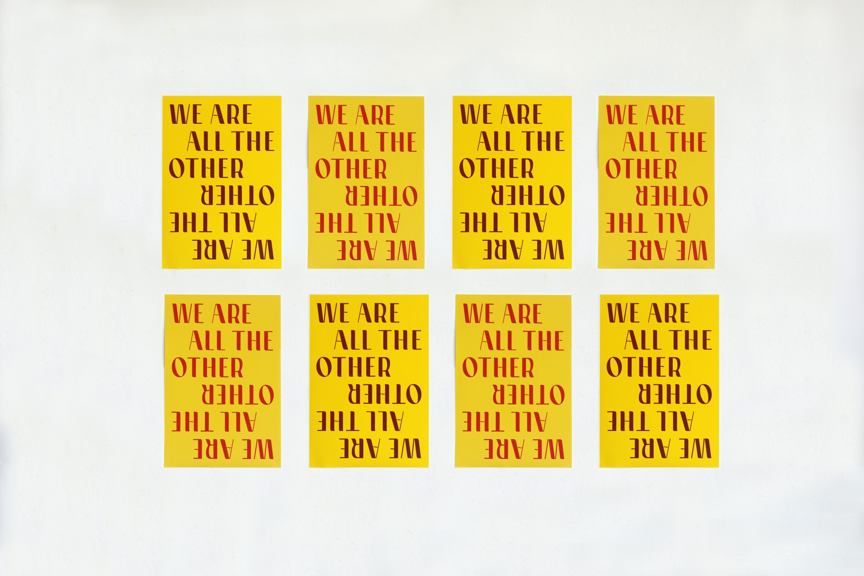 8 pieces of yellow paper, some with black text, some with red text