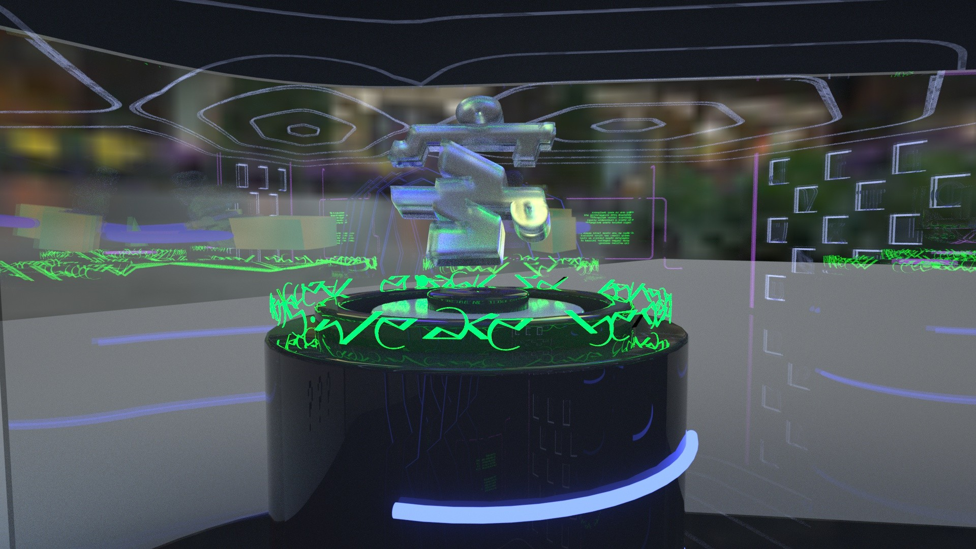 I designed a virtual space to exhibit the  typeface as artificial sculptures.