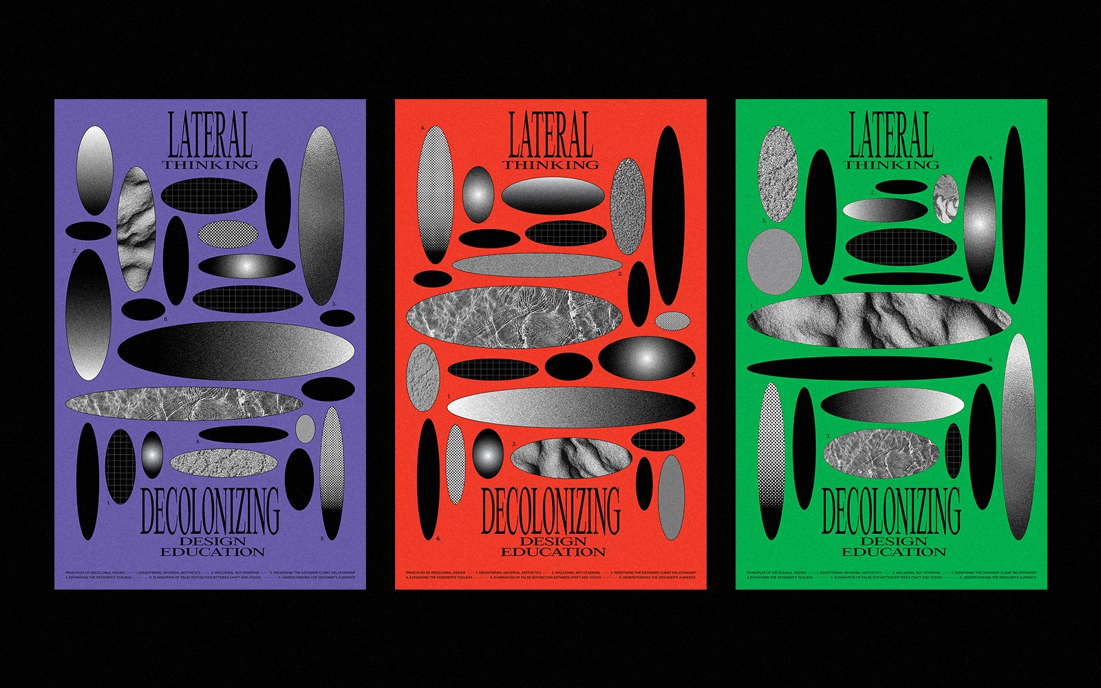 """A series of posters that include circular shapes and text that reads """"Lateral Thinking,"""" each in purple, red, and green."""