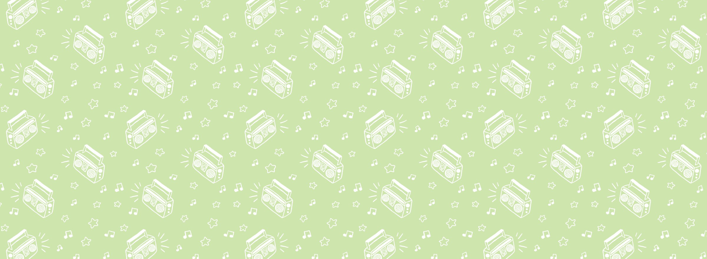 A repeating pattern of boomboxes, music notes, and stars with simple white linework on a light green background. The pattern is arranged in a scatter format.
