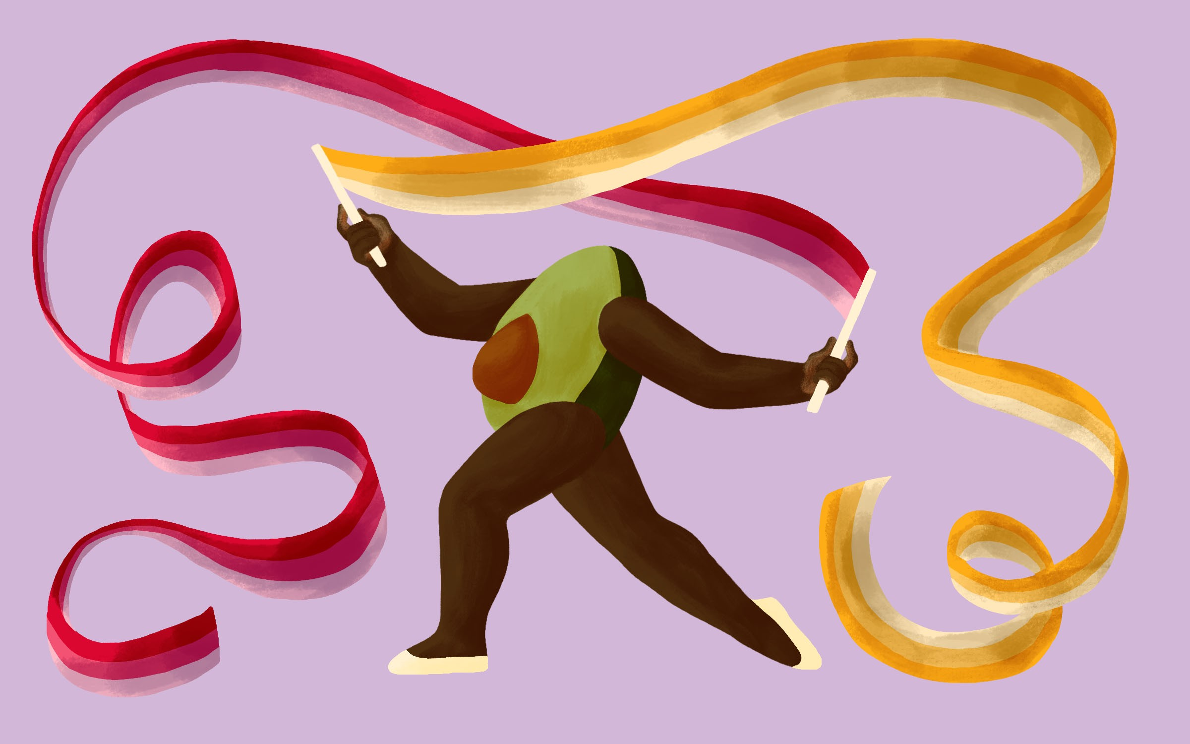 An avocado with arms and legs is dancing with a long swirling ribbon in each hand on a light purple background. The avocado is posed with one leg bent and the other stretched out behind and it's arms are slightly bent and raised out. Each ribbon has three