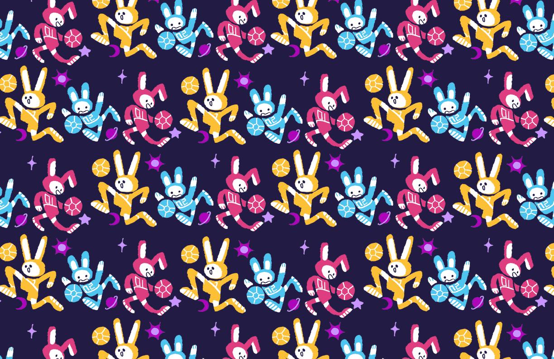 Some bunnies playing soccer among the stars