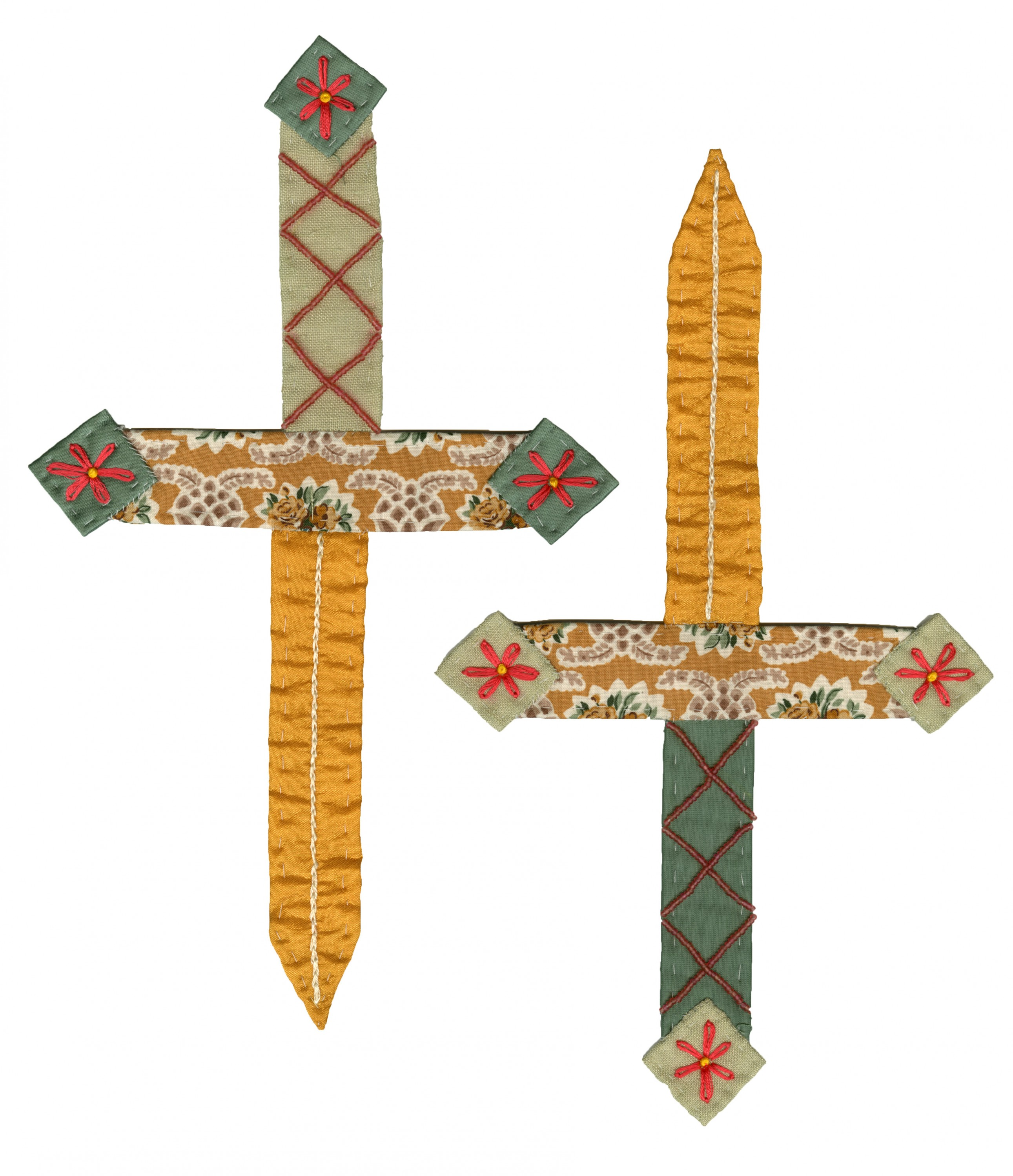 The applique is two daggers with golden blades and green handles. There is pink beading crisscrossing down the handle with pink embroidered daisies on the ends of the hilt and the handle. They are sewn onto jeans with shooting stars and pomegranates stamp