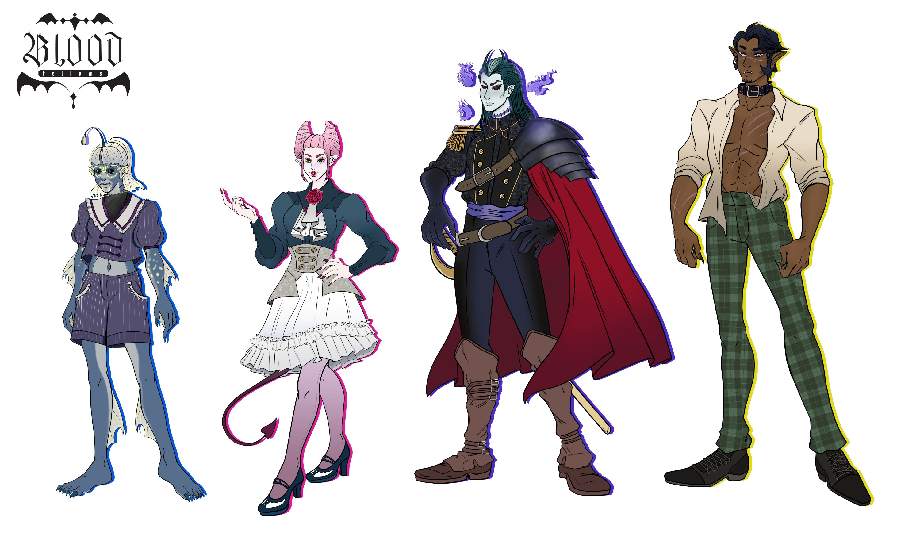 The following illustration is a lineup of character for a future game titled Blood Fellows