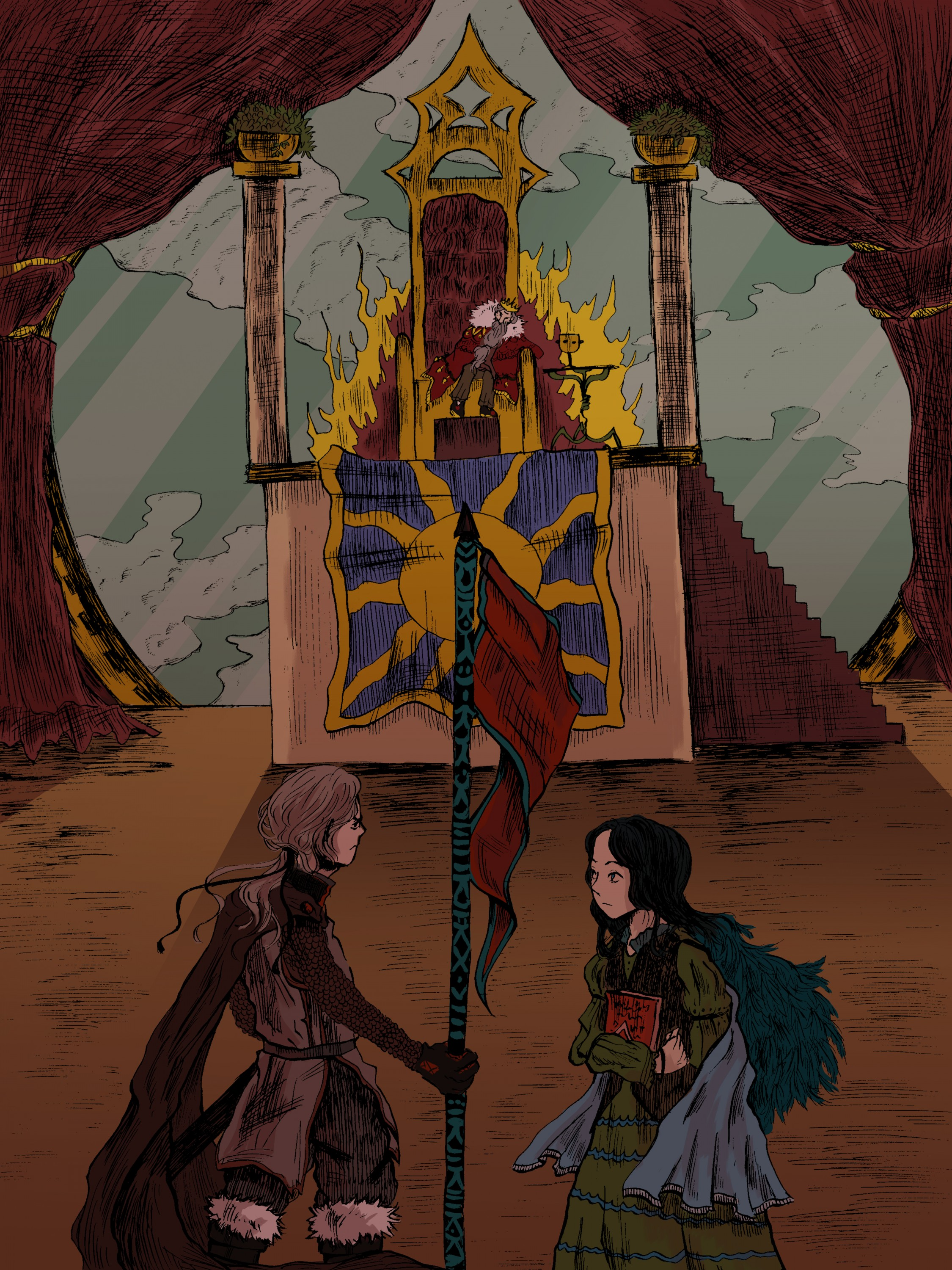 Book illustration for an original story where the characters confront the evil king.