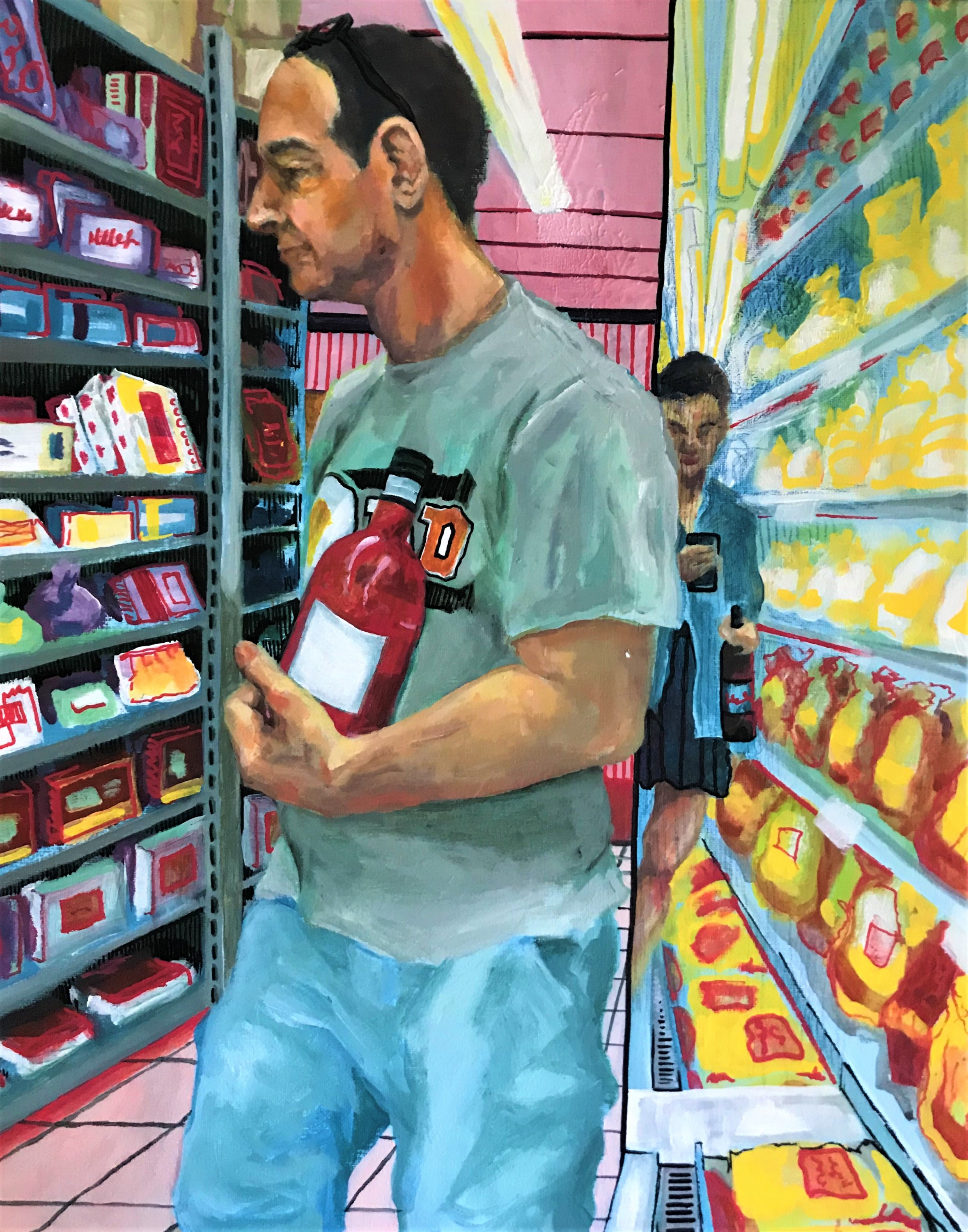 A father figure is in the foreground holding a bottle of unidentified rosé, wearing a grey t-shirt and light blue shorts. To the left of him are grocery store shelves, and to the right is a freezer and a mirror where a younger girl, the daughter, takes an