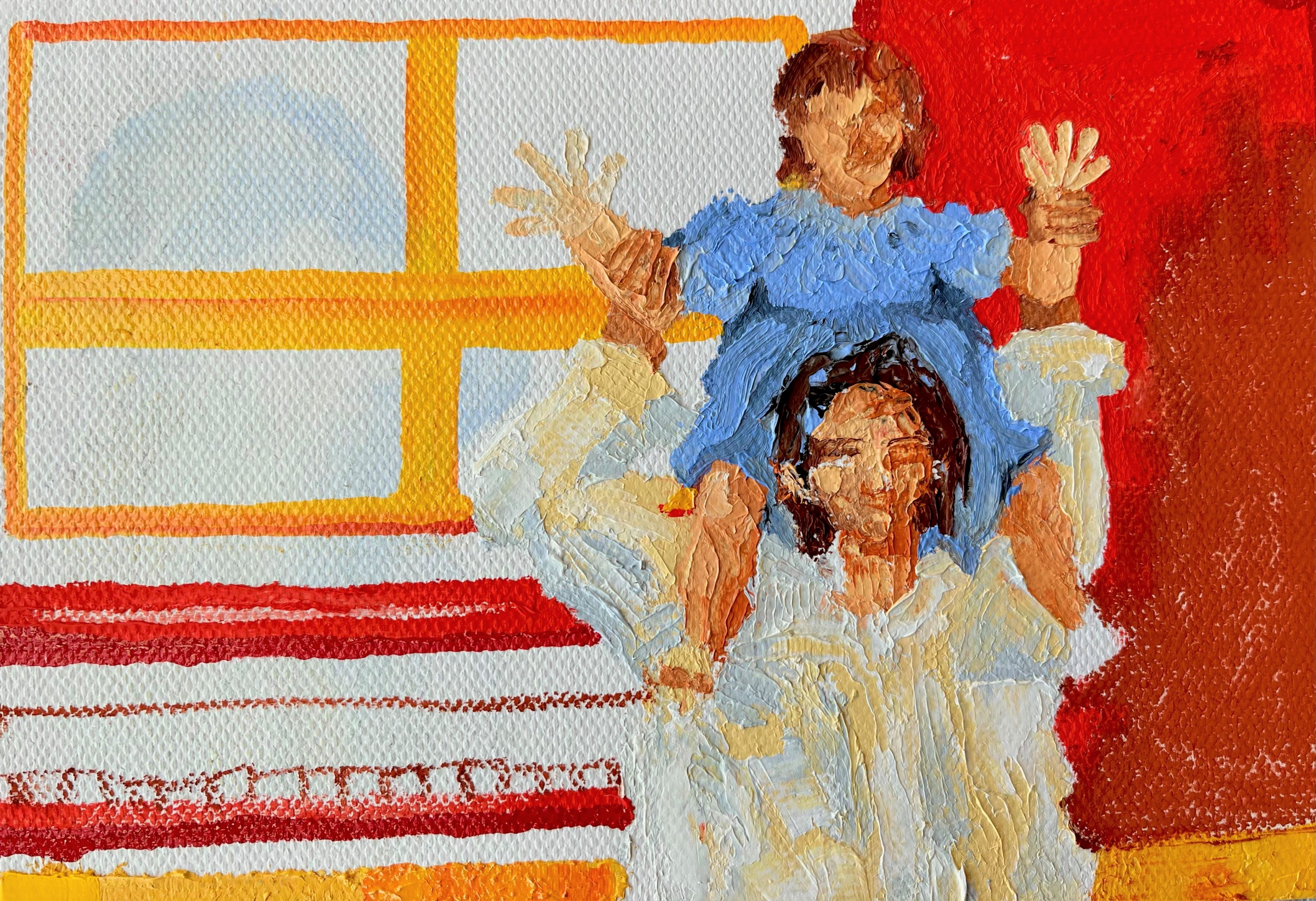A young girl sits on her mother's shoulders. The girl wears a light blue dress and the mother wears a white button down shirt. The mother holds up the daughters arms. The background is flat with red on the right quarter, and the left a combination of red