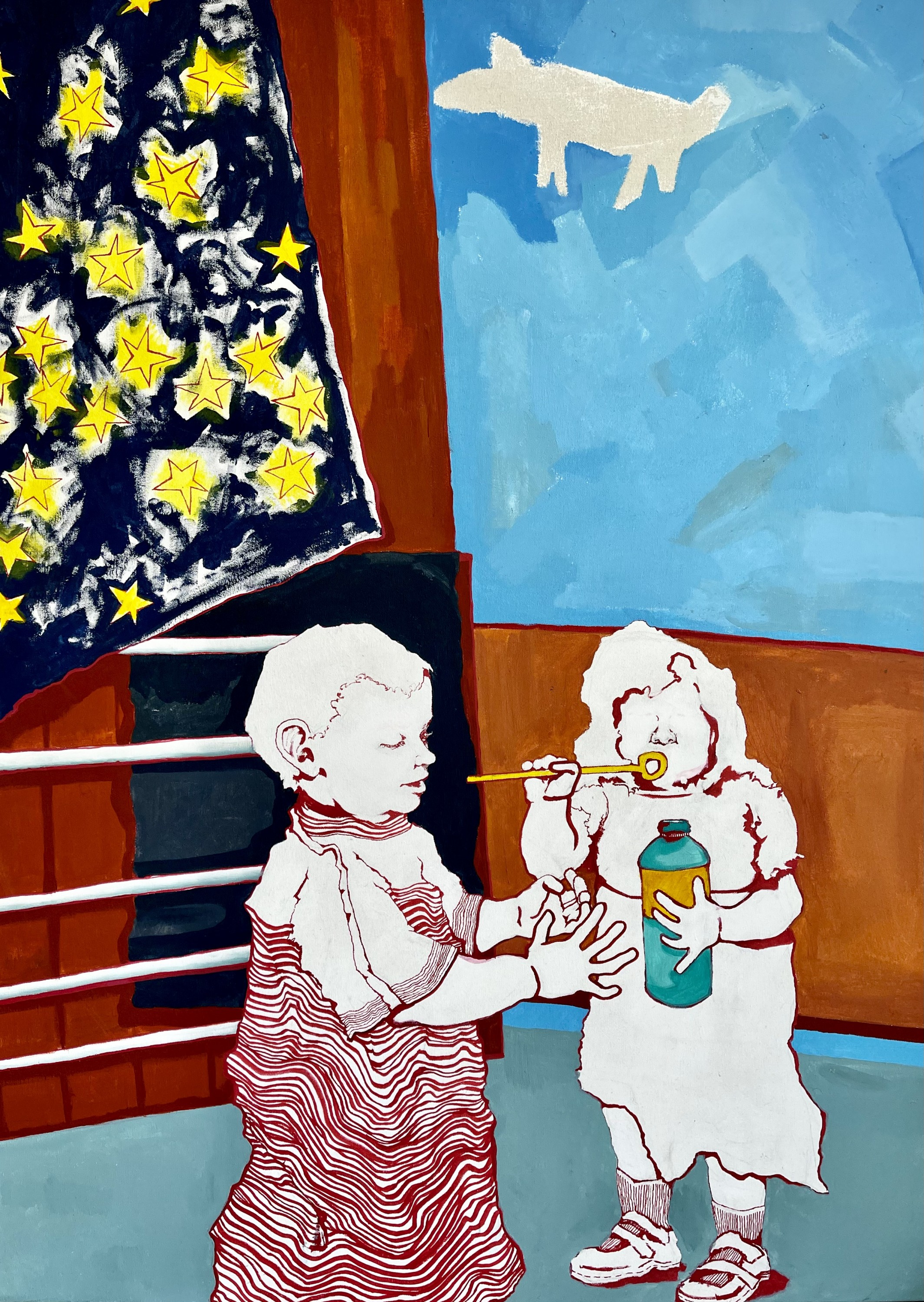 Two toddlers drawn with bright red oil pen stand blowing bubbles on a flat abstracted patio. The boy in the foreground stands under a starred flag while wearing a striped shirt. His hands are explorative in the air, though the girl with the bubble's is no