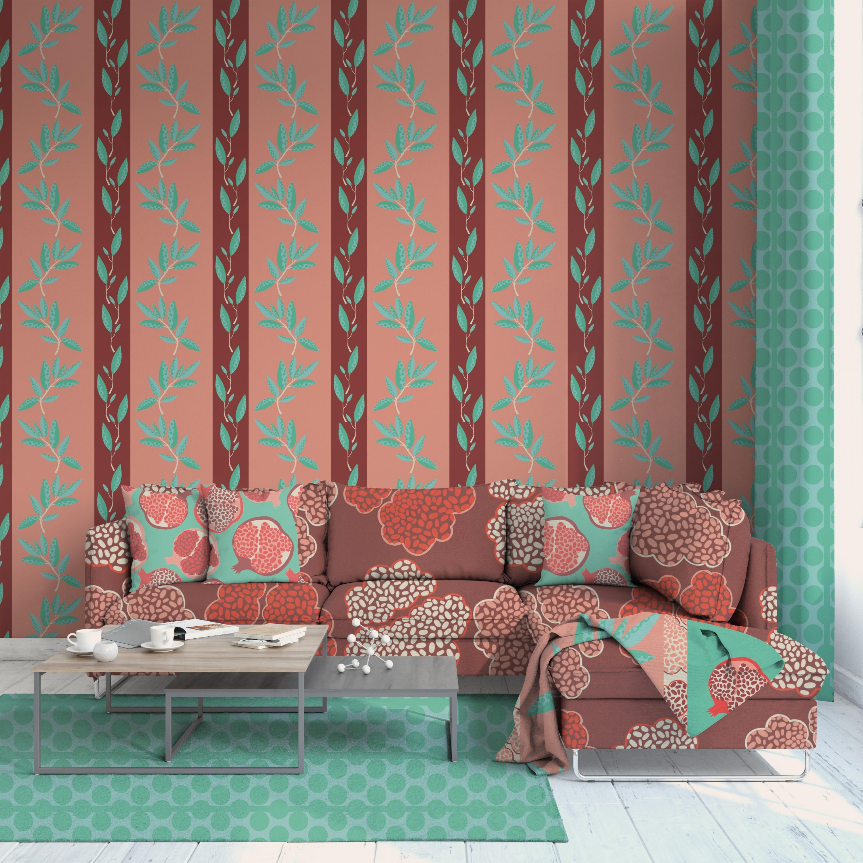 The image is of a living room with a sofa, couch pillows, a throw blanket, rectangular coffee table, rug, and curtain. The first image has a dark red couch with pink and red seeds of a pomegranate. The pillows have red and pink pomegranates with a green b