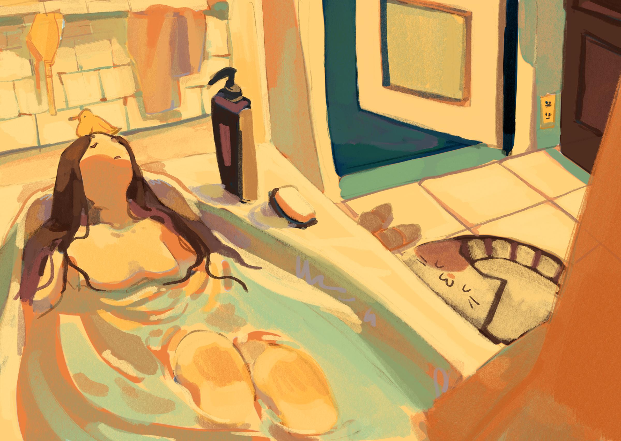 Digital Illustration about a girl taking a break in warm bathtub.