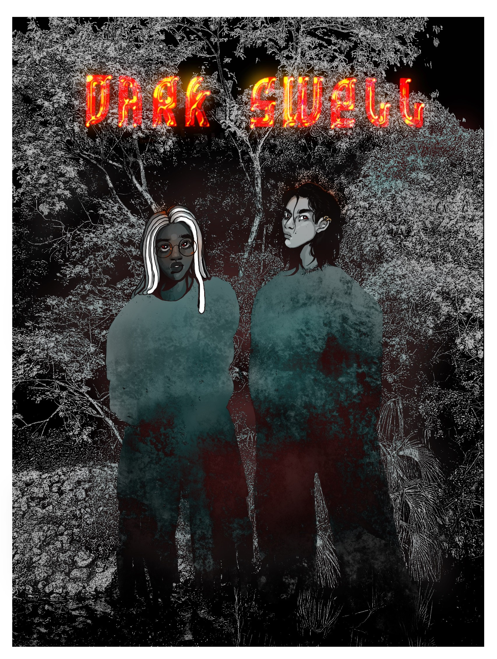 black and white comic cover of two young people, one with dreadlocks and the other with long black hair in front a forest, with the title Dark Swell above them.
