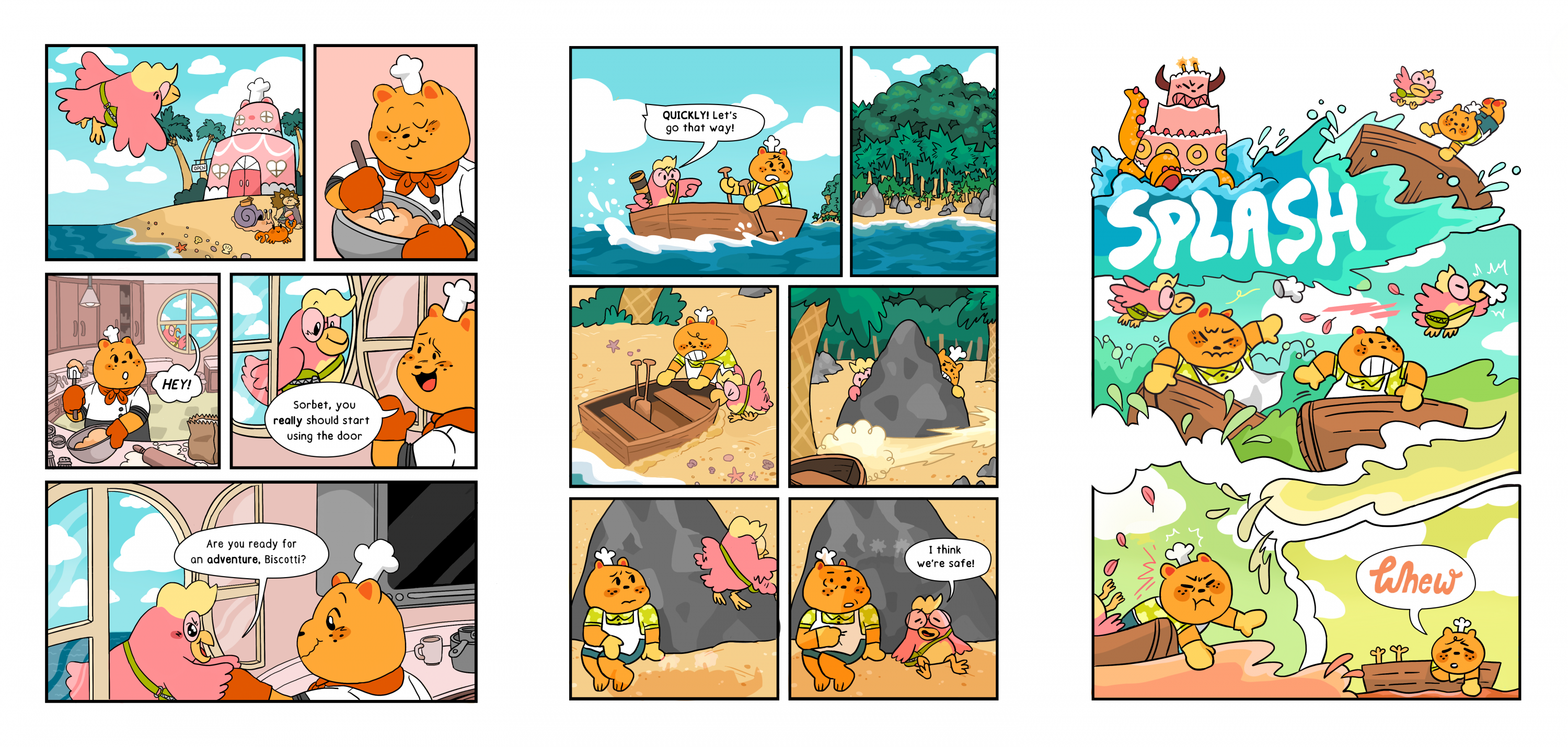 The following pages are not in sequential order. Page one: A bird flies up to a bakery where a bear mixes a bowl inside. She asks the baker bear if he wants to go on an adventure with her. Page two: A bear and a bird frantically row a boat over to an isla
