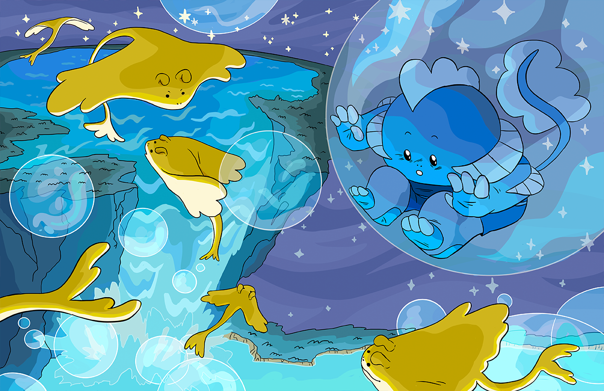 A blue creature looks down from inside of a bubble at a glowing waterfall and flying golden manta rays.