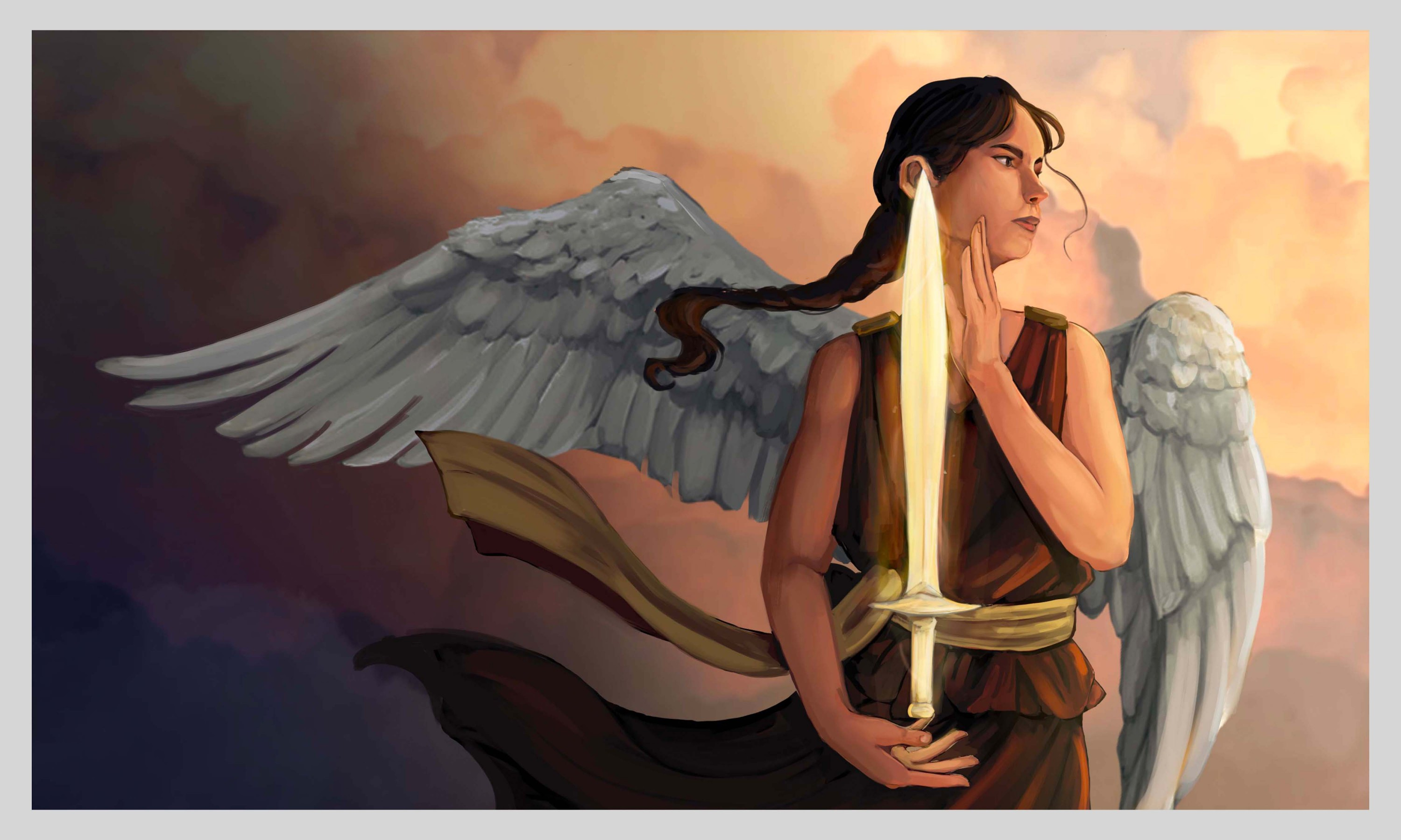 Nike, the main character, is shown looking out into the far right. She holds a shining sword. Her wings and dress is blown by the wind. Clouds are shown in the background.