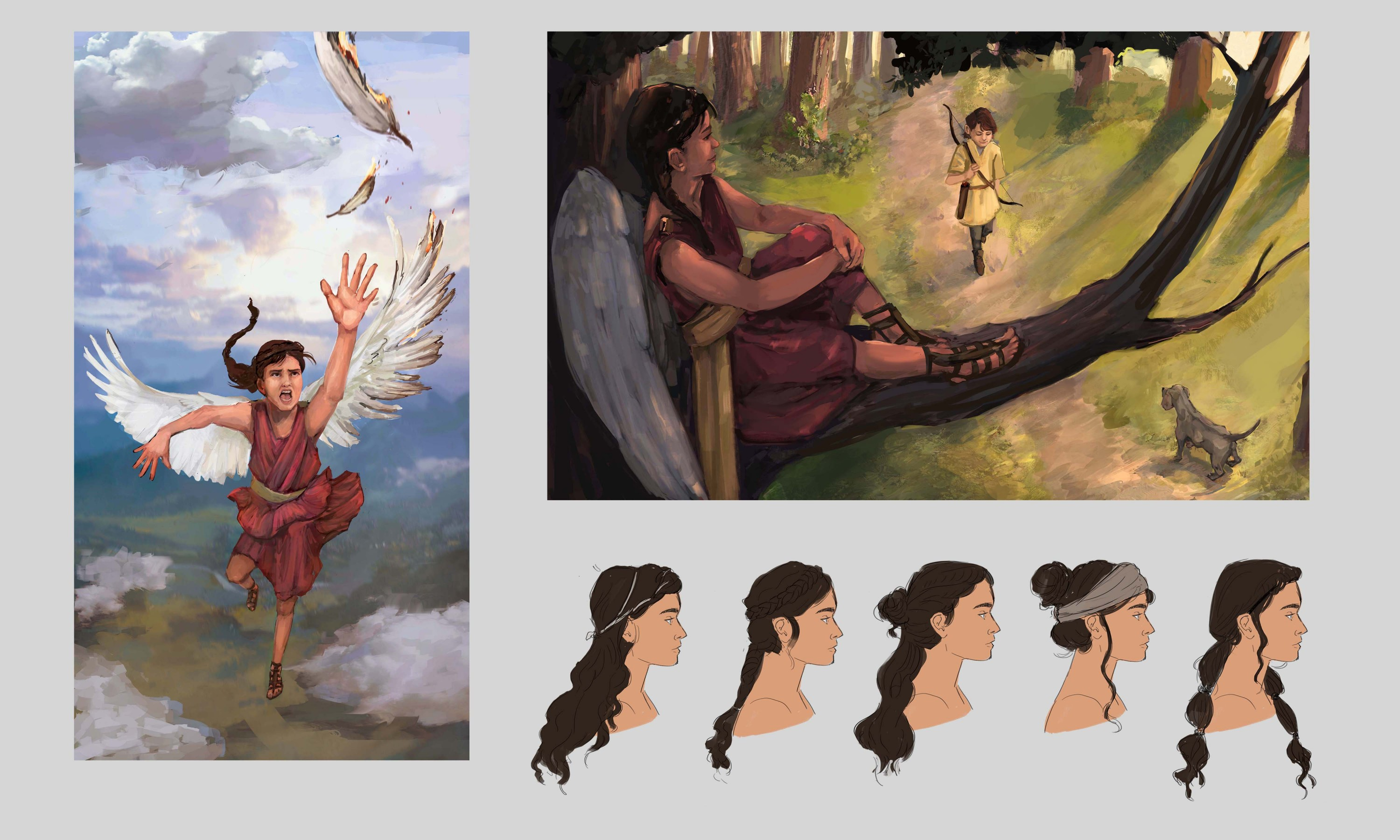 On the far left, Nike is shown with damaged wings. She is falling from the sky. On the top right, Nike is sitting on top of a tree branch. She looks down at a young boy who is playing with his dog. On the bottom right, hair style options are shown of Nike
