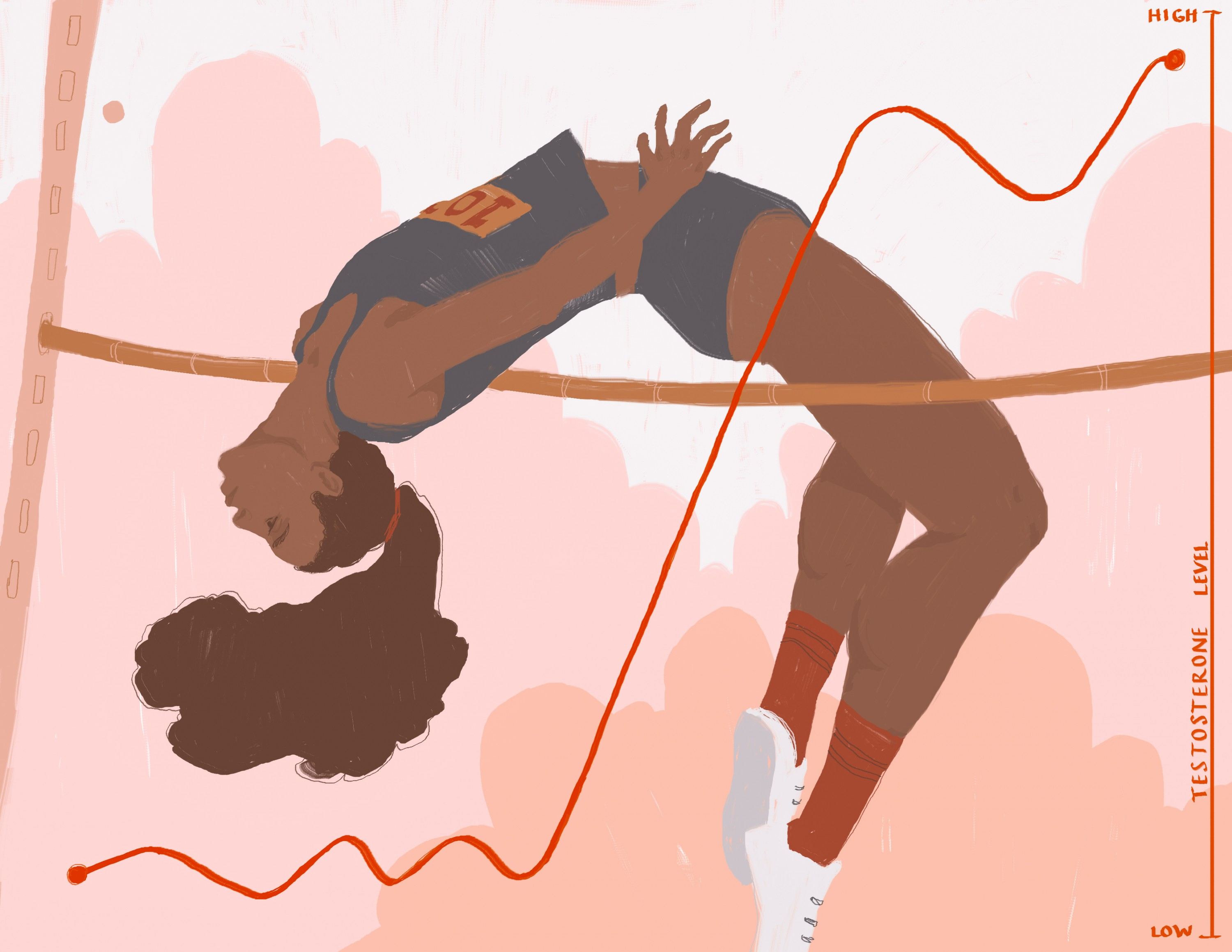 The image shows a woman of color jumping over the horizontal bar. The illustration is about the levels of testosterone in female athletics