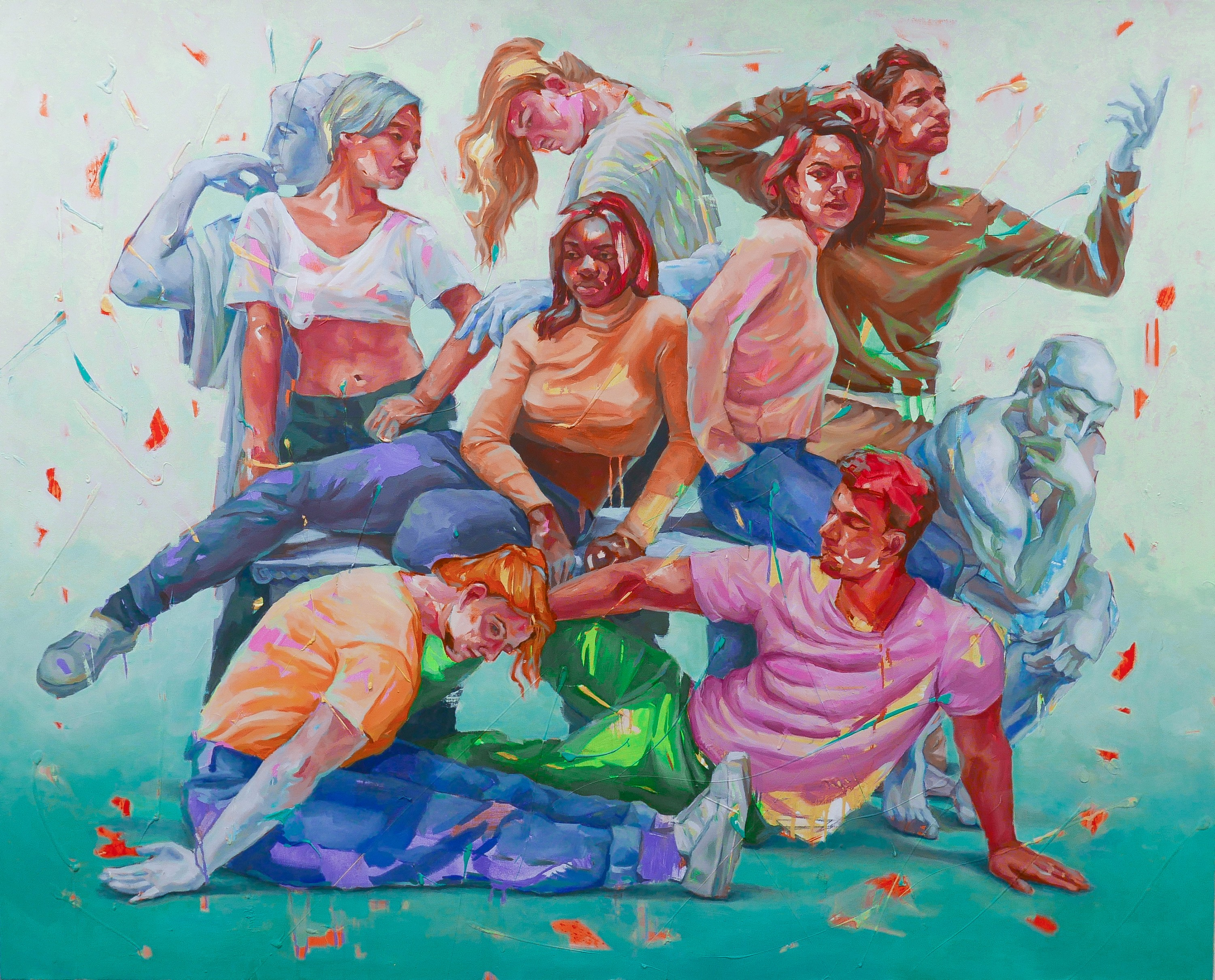 This series of paintings talk about the intercultural relationships of lovers and friends through the layers of colors and patterns.