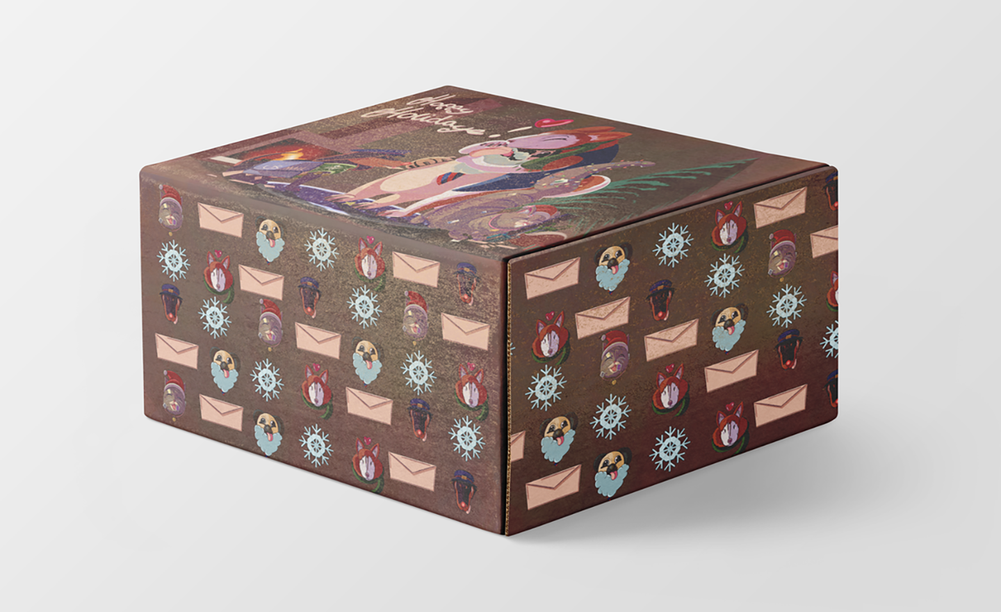 This USPS holiday project consists of a mock-up and two illustrations, one illustration on the top of the box and one around the sides of said box. The top illustration consists of four animal characters who work at a small USPS facility. A pug who is the