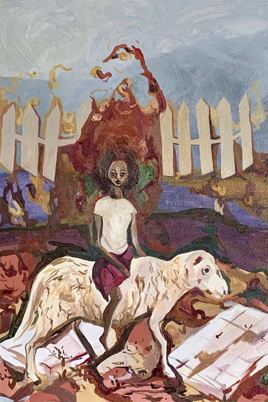 Painting of a young black woman riding a lamb with an atmospheric background
