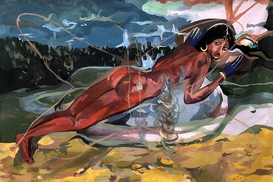 A portrait of a woman laying horizontally on an atmospheric background. Her skin is painted in red tones. She wears blue gloves and gold hoop earrings.