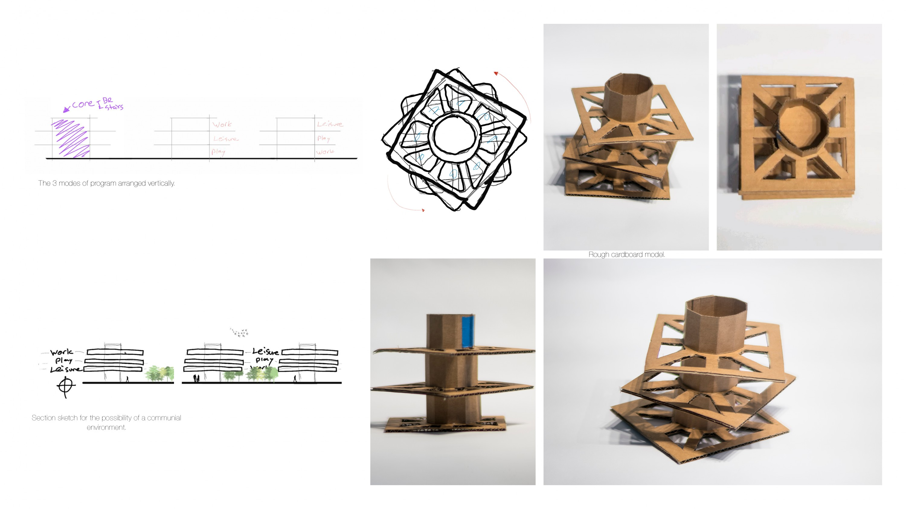 Rough Cardboard Model including a diagram of three modes of the program and a sketch of a communal environment