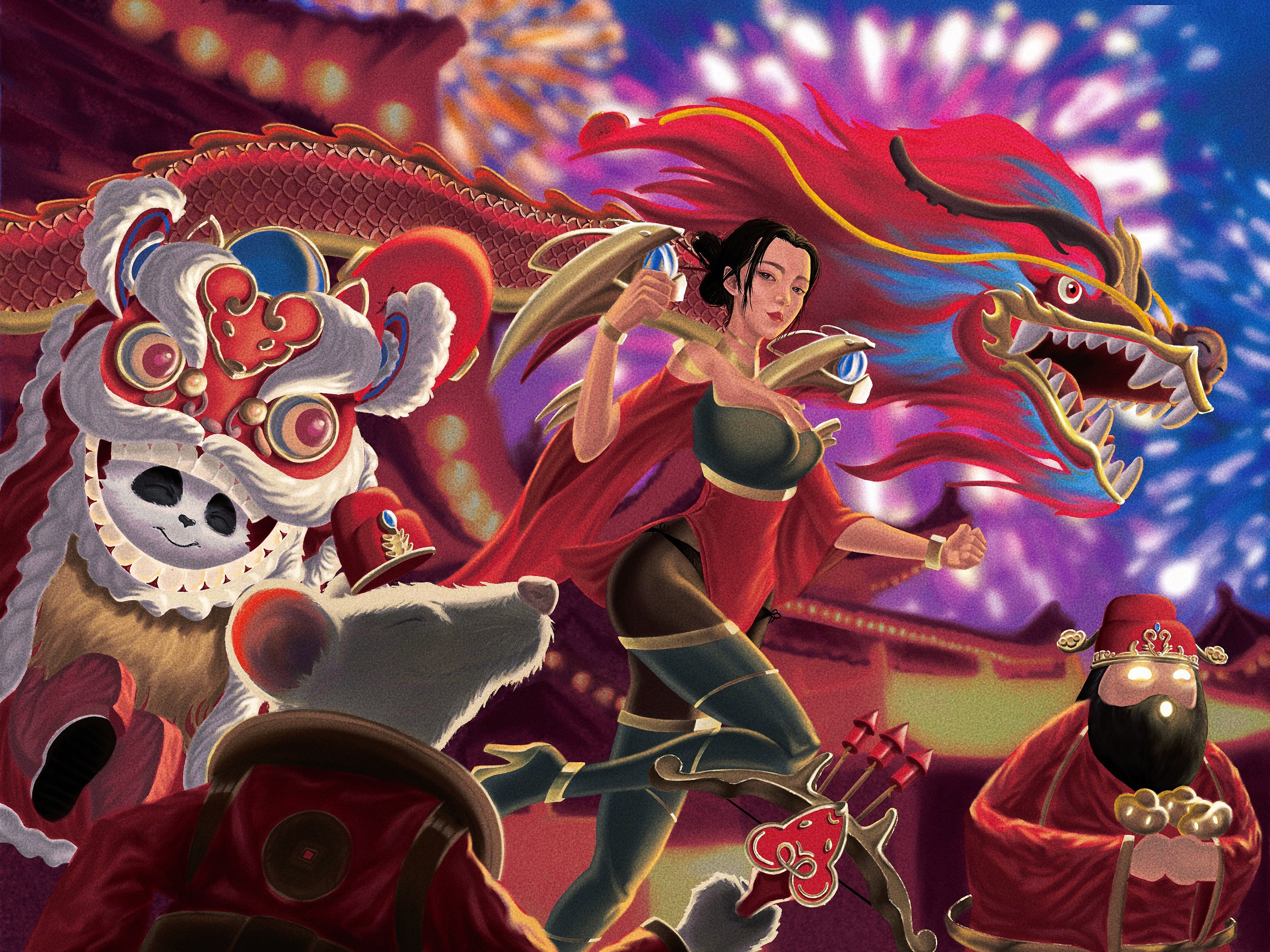The illustration for my favorite video game League of Legends. I picked five champions from the game and put them into Chinese New Year, the year of rat. All of these designs with Chinese and rat elements inside.
