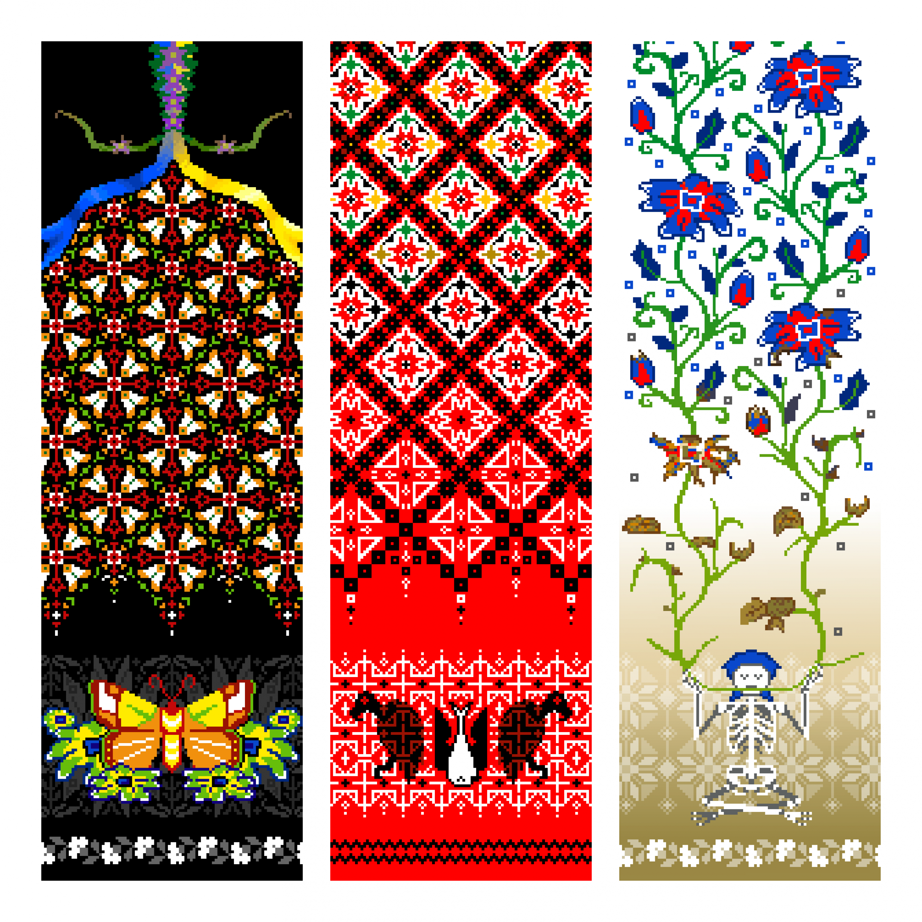 This is a picture of 3 long (portait-oriented) pixel designs based on Ukrainian embroidery. The banner on the left is mainly black with designs based on moths. The middle piece is red and black geometric design with bird imagery. The piece on the right is