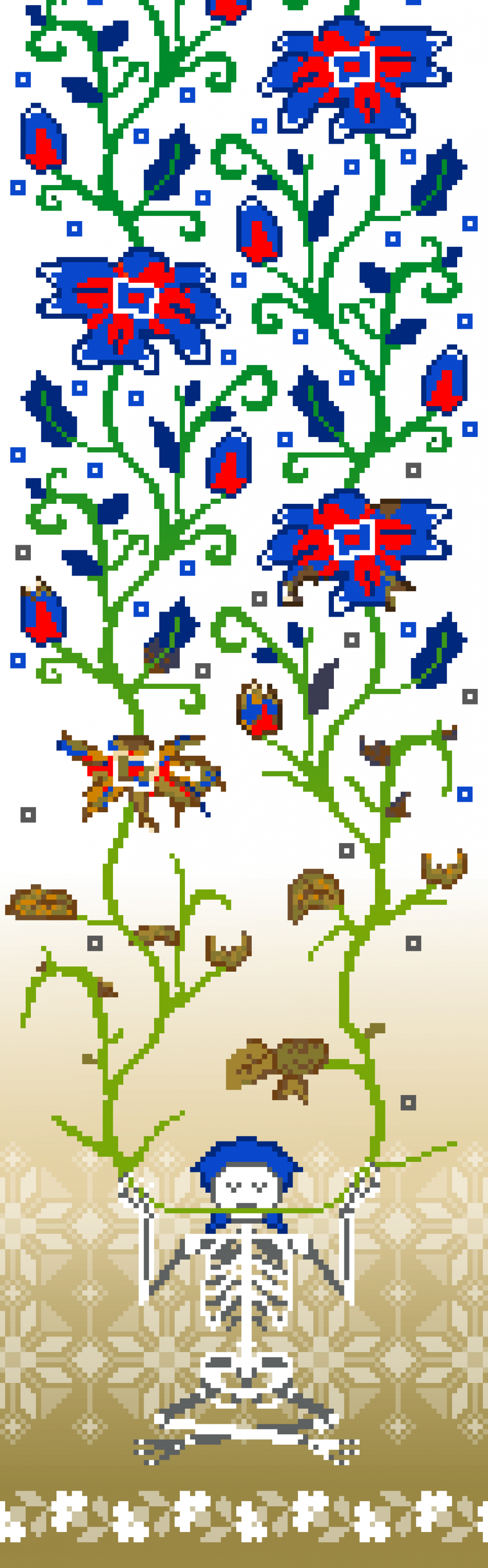 This piece is a vertical pixel design with a white to tan gradient background and bright blue and red flower design. The flowers start vibrant at the top and slowly wither down until they reach a skeleton sitting at the bottom of the banner who is eating