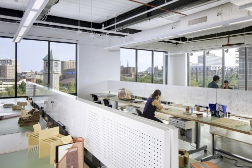 Architectural Design work spaces on the fifth floor of the Dolphin Design Center have sweeping views of midtown Baltimore