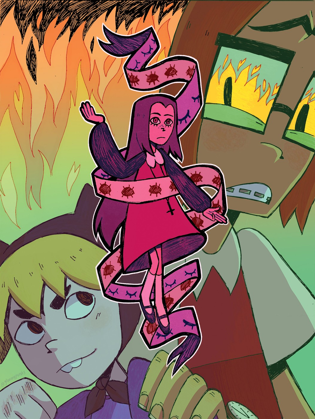 2 male characters in the background with fire, a girl in the front surrounded by ribbon with eyeballs on it.