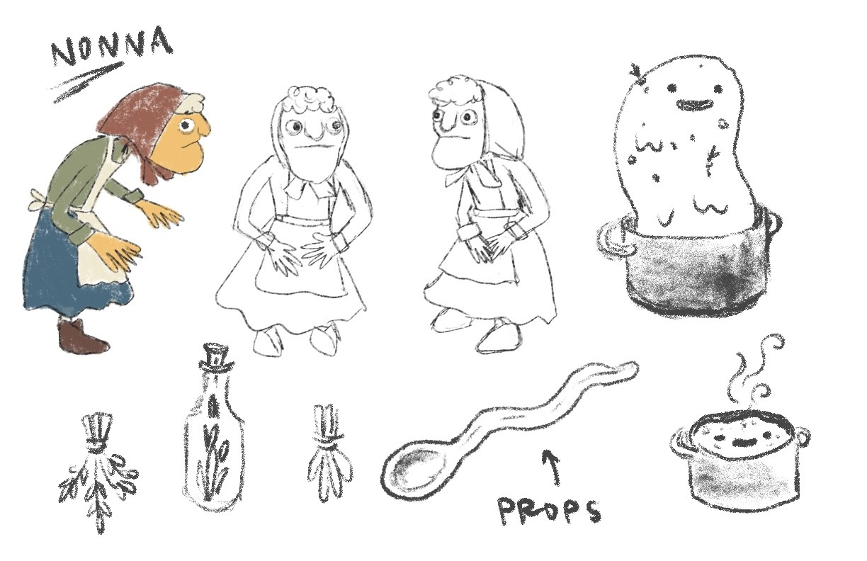 sketches of nonna, props, and sauce