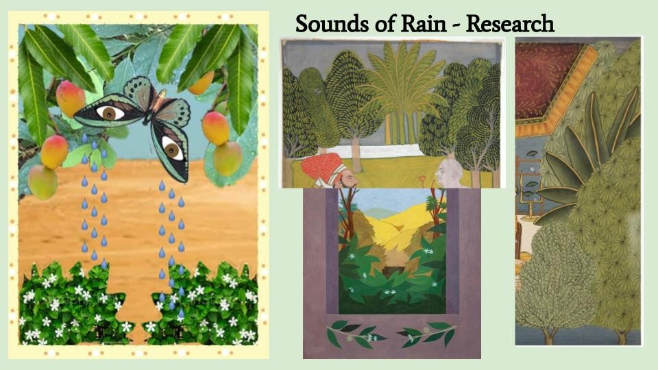 """Rain: A symbol of change and rebirth. A cleansing of what once was and nourishment for what could be. Mangoes and Foliage: Mangos are the national fruit of India known as the """"Food of God."""" Mango trees are a symbol of love and happiness that possess the m"""