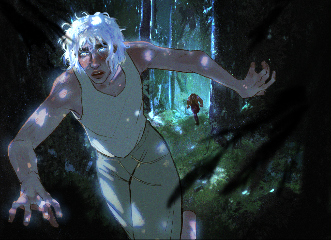 In a dimly lit forest, speckled by moonlight there is a young man with white hair glowing in the night along with his eyes shining and worried as he runs far through the forest only in his pajamas, behind him there is a man running after him right where t