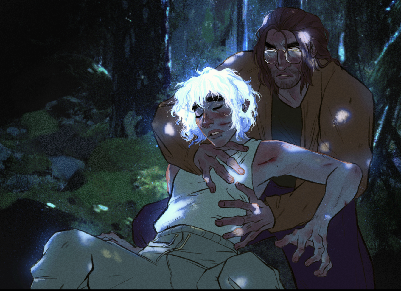 In a dimly lit forest speckled with moonlight, a young man with glowing white hair and sharp cuts against his cheeks where tree branches have whipped past laying half-unconscious in a daze, holding him is a scruffy looking man with jaw-length hair and gla