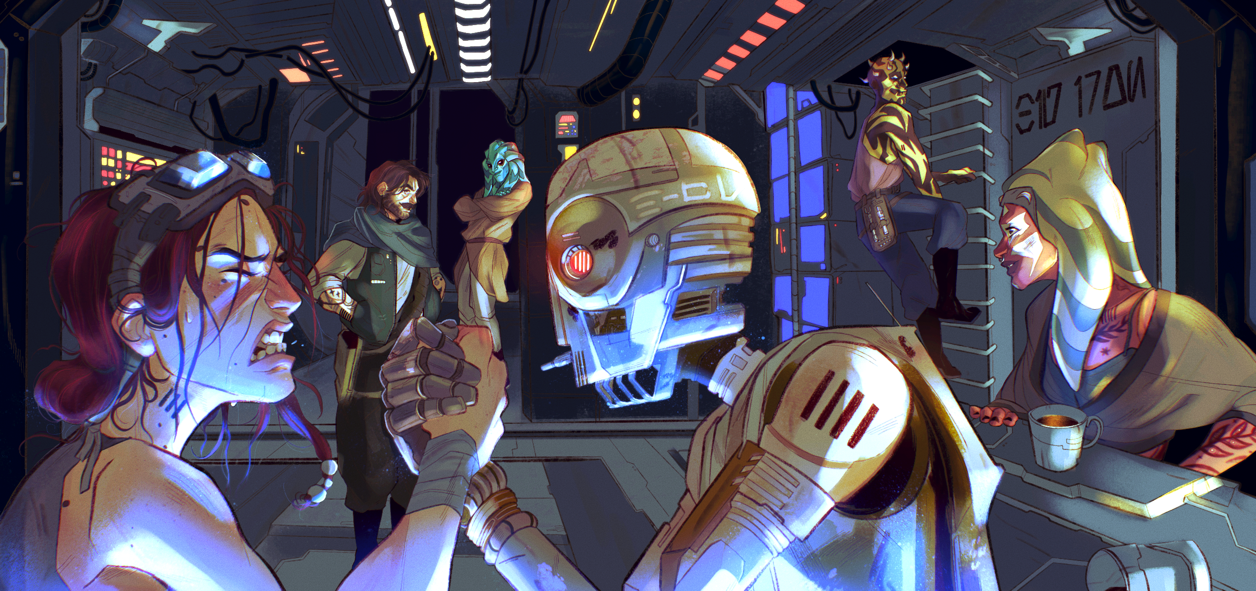 Inside of a dimly lit space ship, the woman farthest left with red hair strains to arm wrestle a moss green robot with glowing eyes in front of her, both underlit by blue hologram light. Behind them, a scruffy man in green and an aquatic being with long t