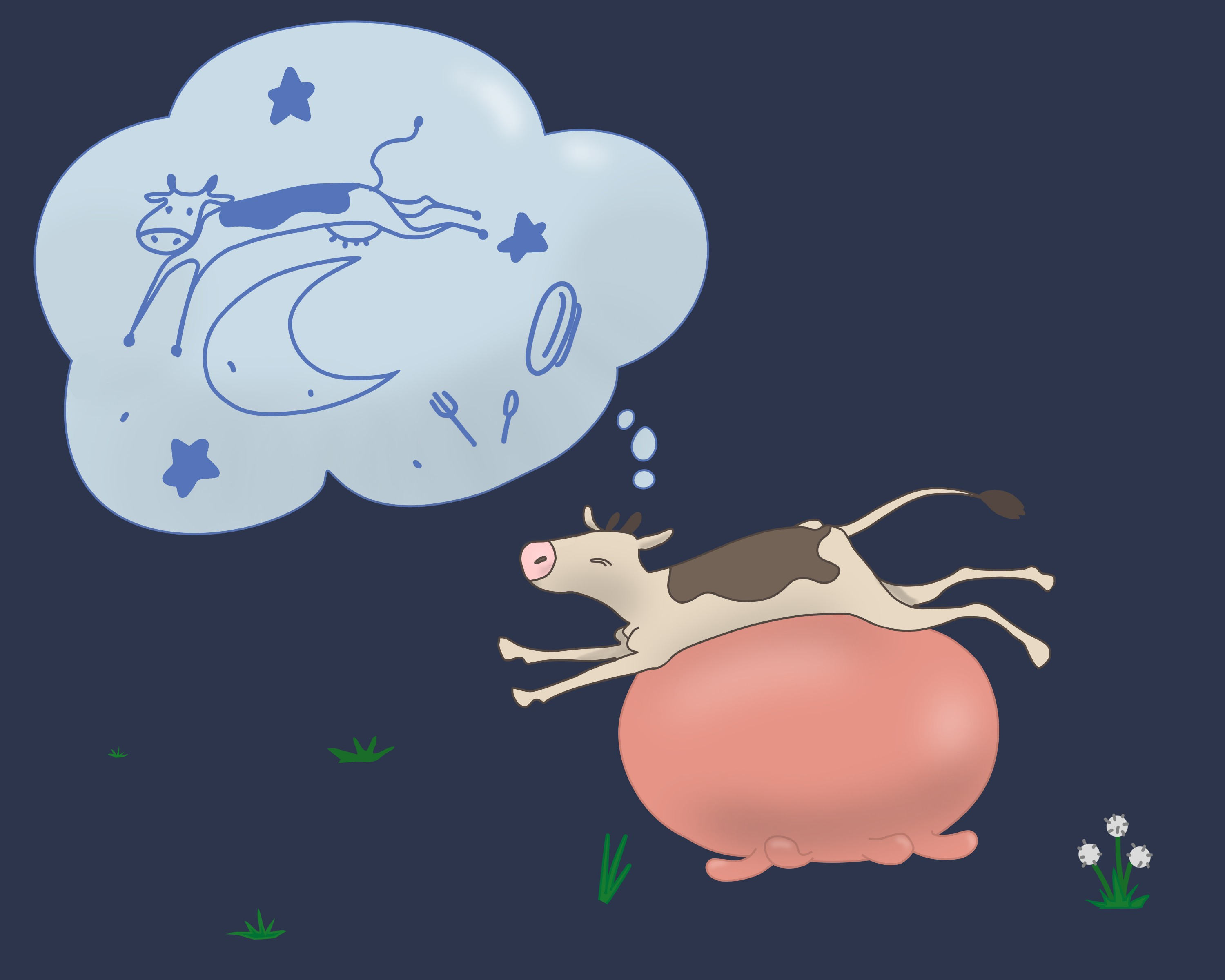 the cow is dreaming of jumping over the moon.
