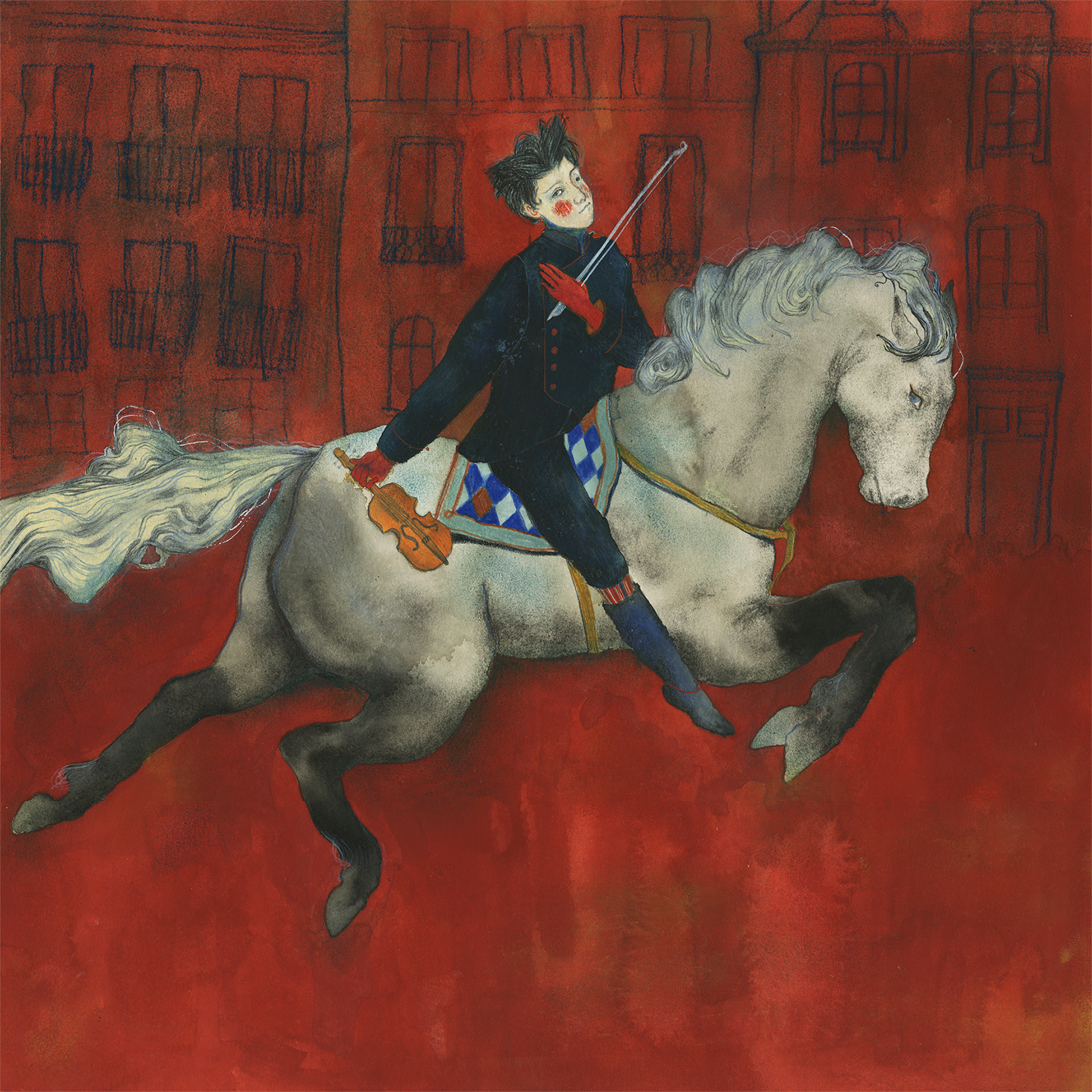 An illustration of a figure riding a horse across an empty city. The outlines of the buildings are simple colored lines against a deep red background. The figure is dressed in a blue suit and is holding a violin. An image meant to accompany Igor Stravinsk