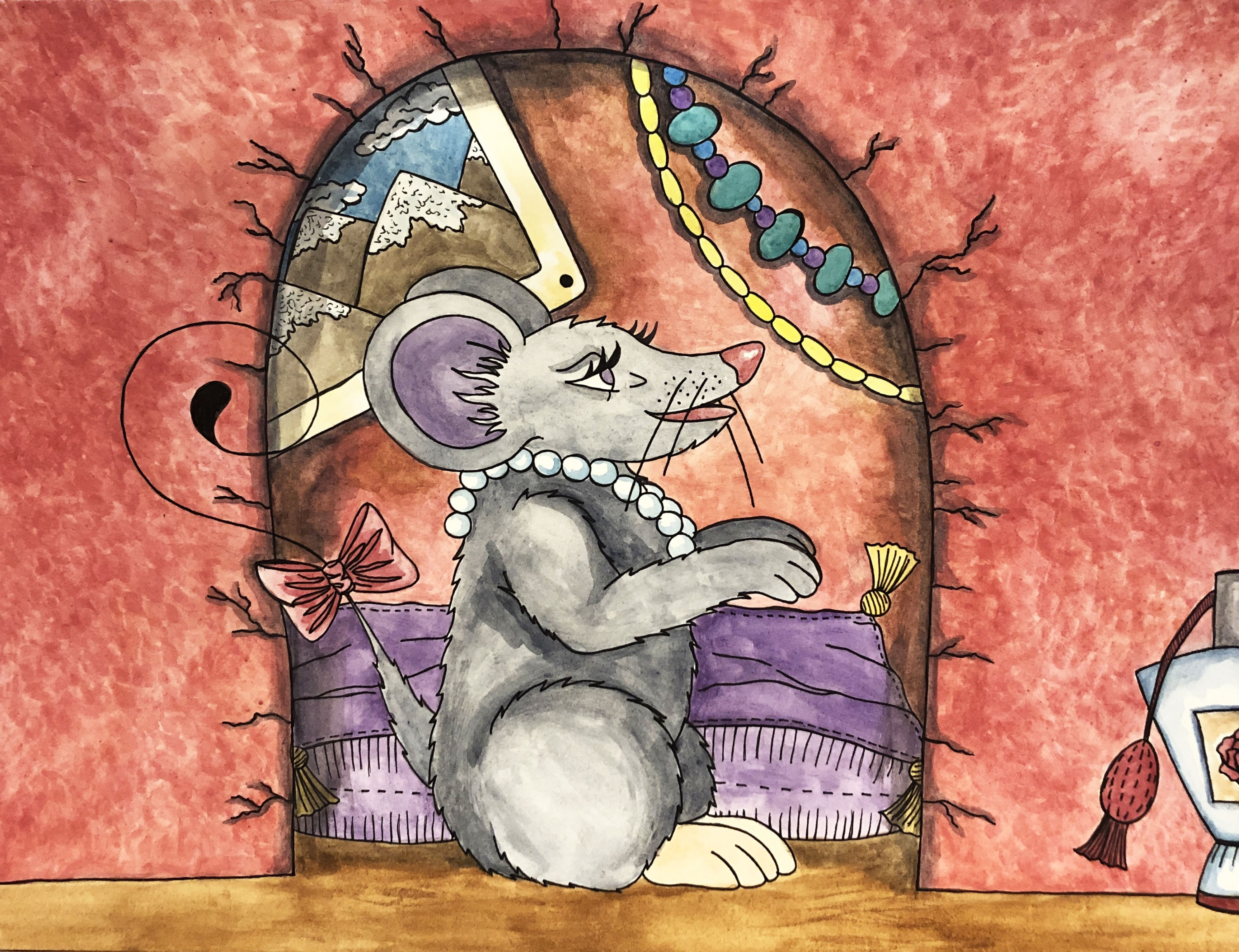 Violet the mouse stands in front of her nook inside of the antique shop. Her fur is grey and she wears a string of pearls and a red bow on her tail. The walls behind her are a terracotta color and her nook is decorated with postcards, beads, and other sma