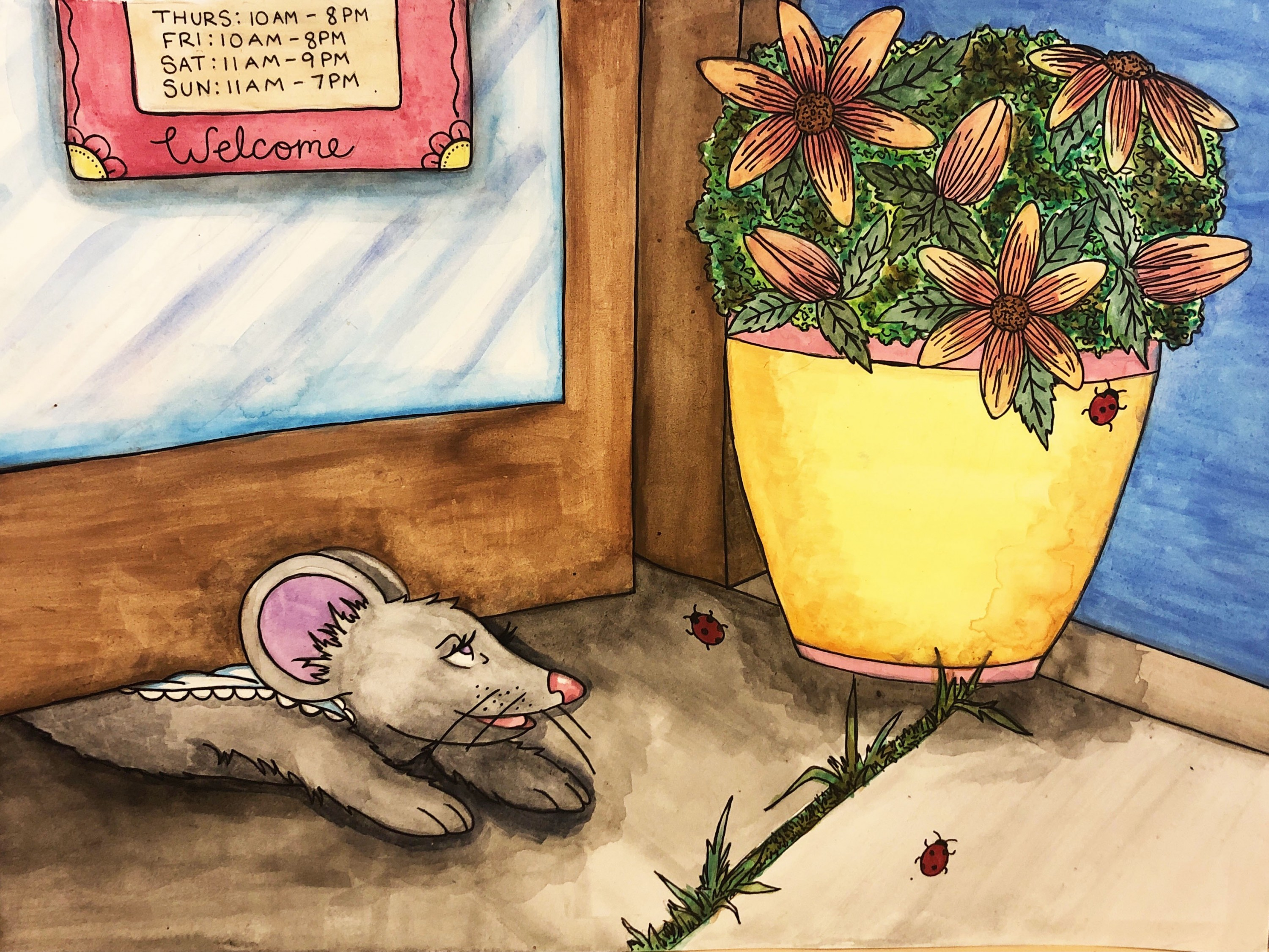 Violet slips out from underneath the door of the antique shop and into the outside world. The door is flanked by potted plants. Outside, the sky is dark and grass pokes out of the sidewalk.