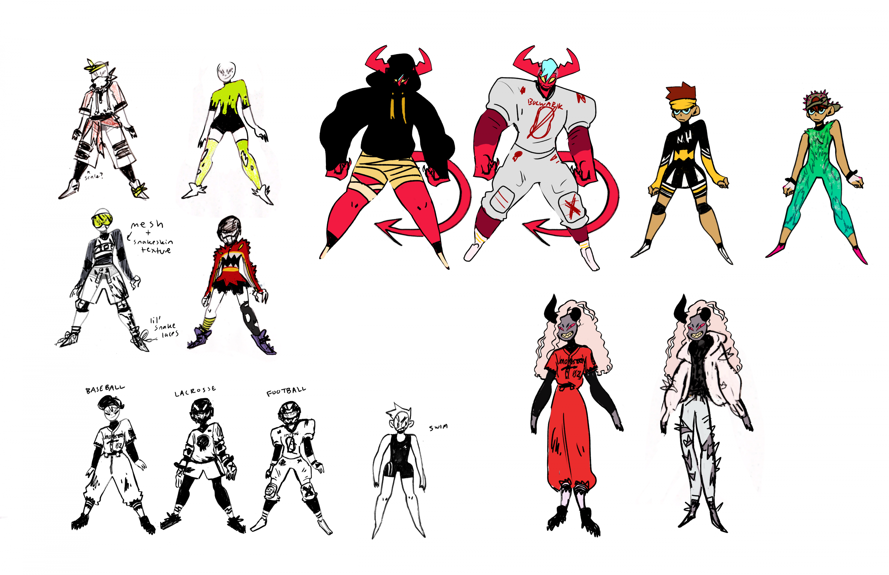 "A sheet of early explorations and development for character outfits. These include different types of ""jocky"" casual wear, sports uniforms, and physical features for the demon characters."