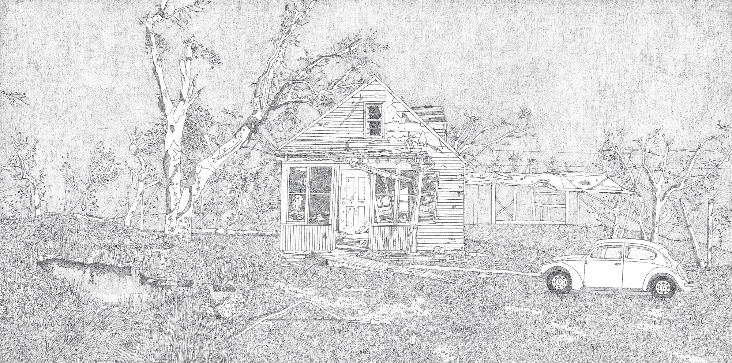 Drawing of a scene impacted by weather disaster; includes a broken house, damaged creek, and old car.