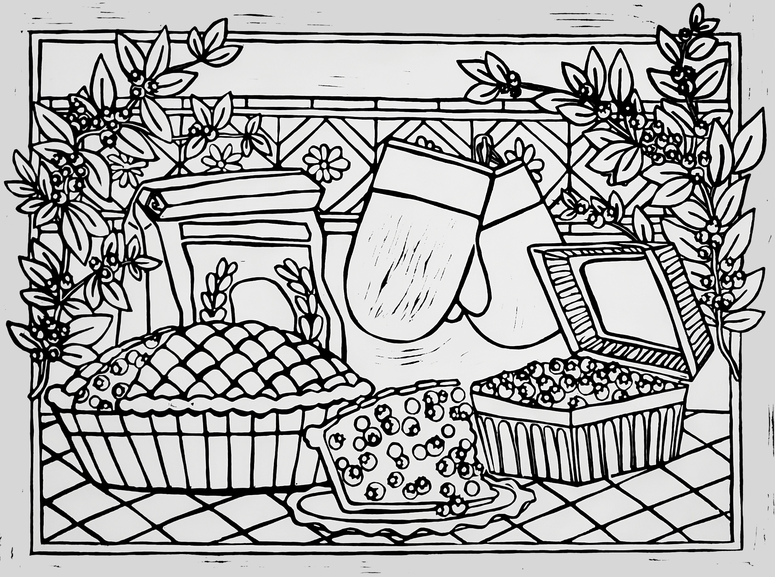 A picture of a linocut print depicting a container of blueberries, a blueberry pie with a slice cut out of it, and of the missing slice sitting on a plate. Behind them are a pair of oven mitts and a closed paper sack of flour. There is a row of tiles with