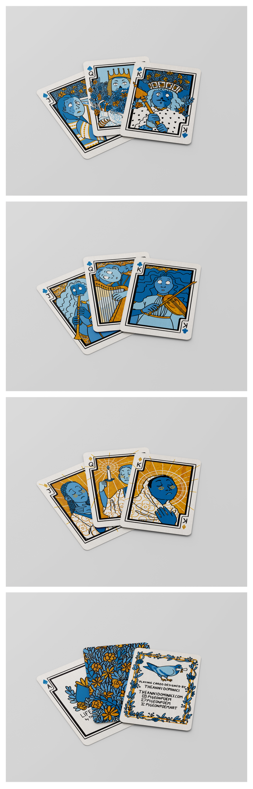 """Mock-ups of an illustrated deck of cards called """"Life and After"""". The mock-ups all have the same format: three cards fanned out on a plain white surface.  The first picture is of the spade suit, which is zombie royalty themed. The king's mouth is open in"""