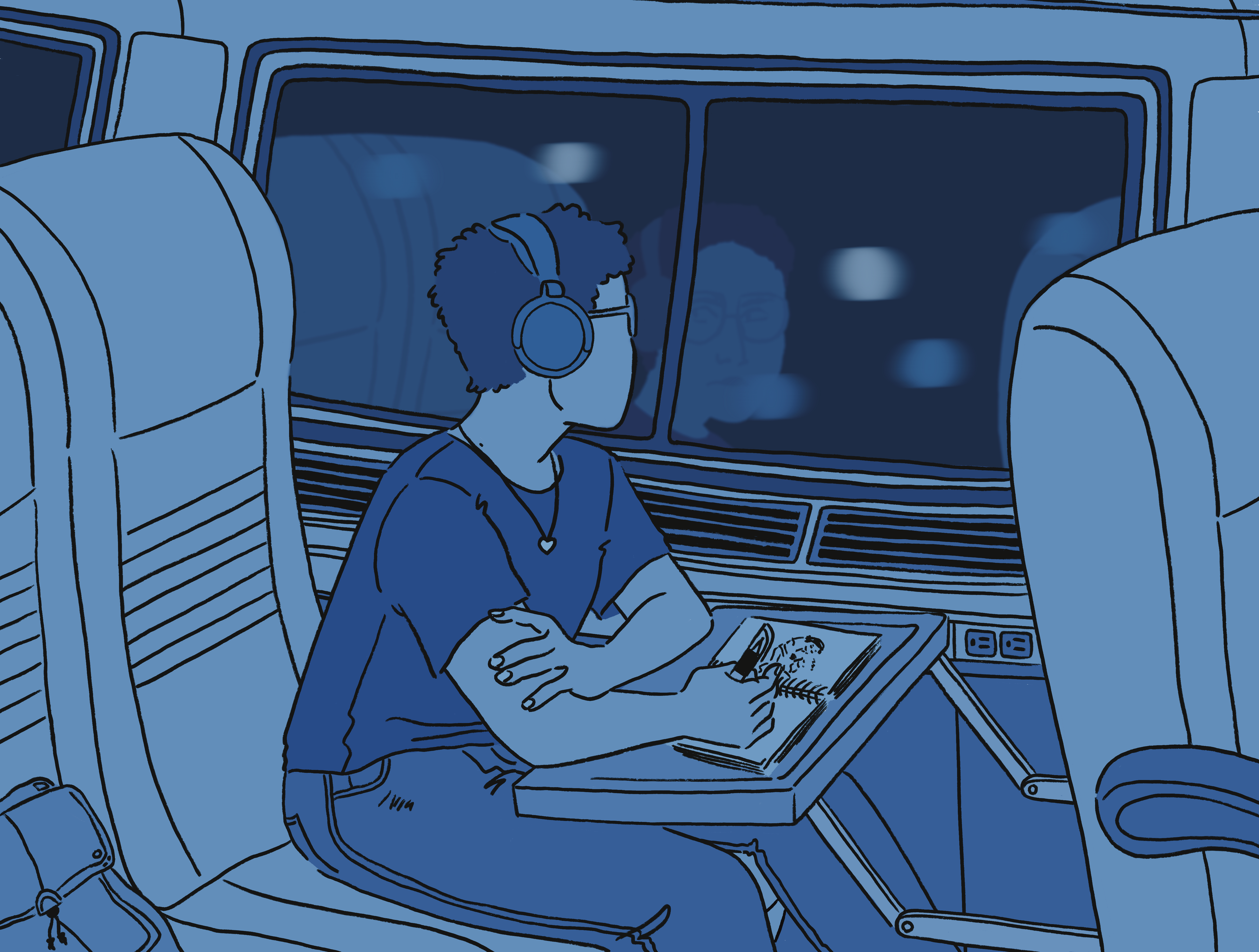 A drawing of a person with short wearing jeans and a plain short sleeved shirt, sitting in a train. The scene takes place at night. There is a bag sitting in the seat next to them. They are looking out the large, dark window, where there are lights moving
